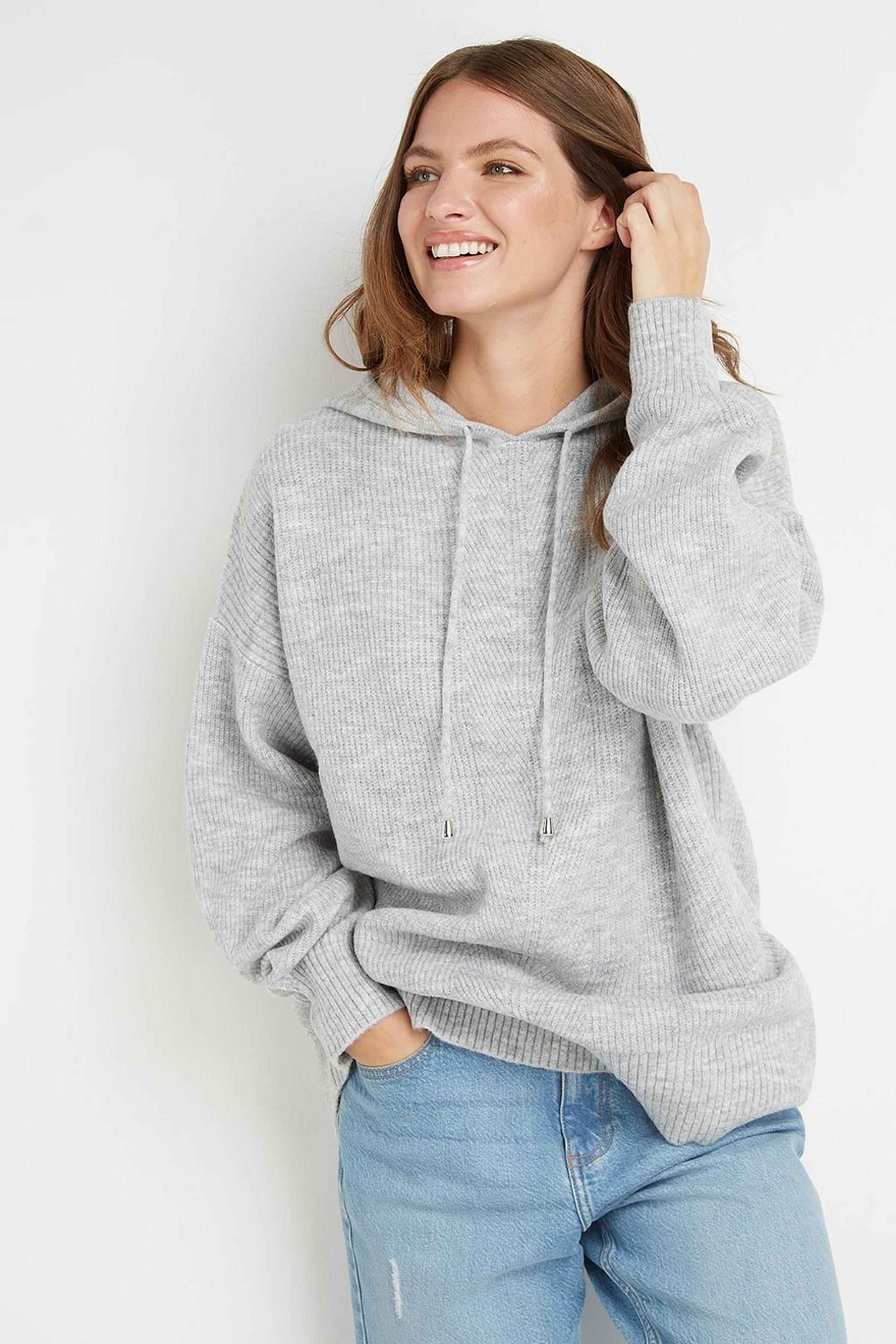 Tall Grey Knitted Hoodie