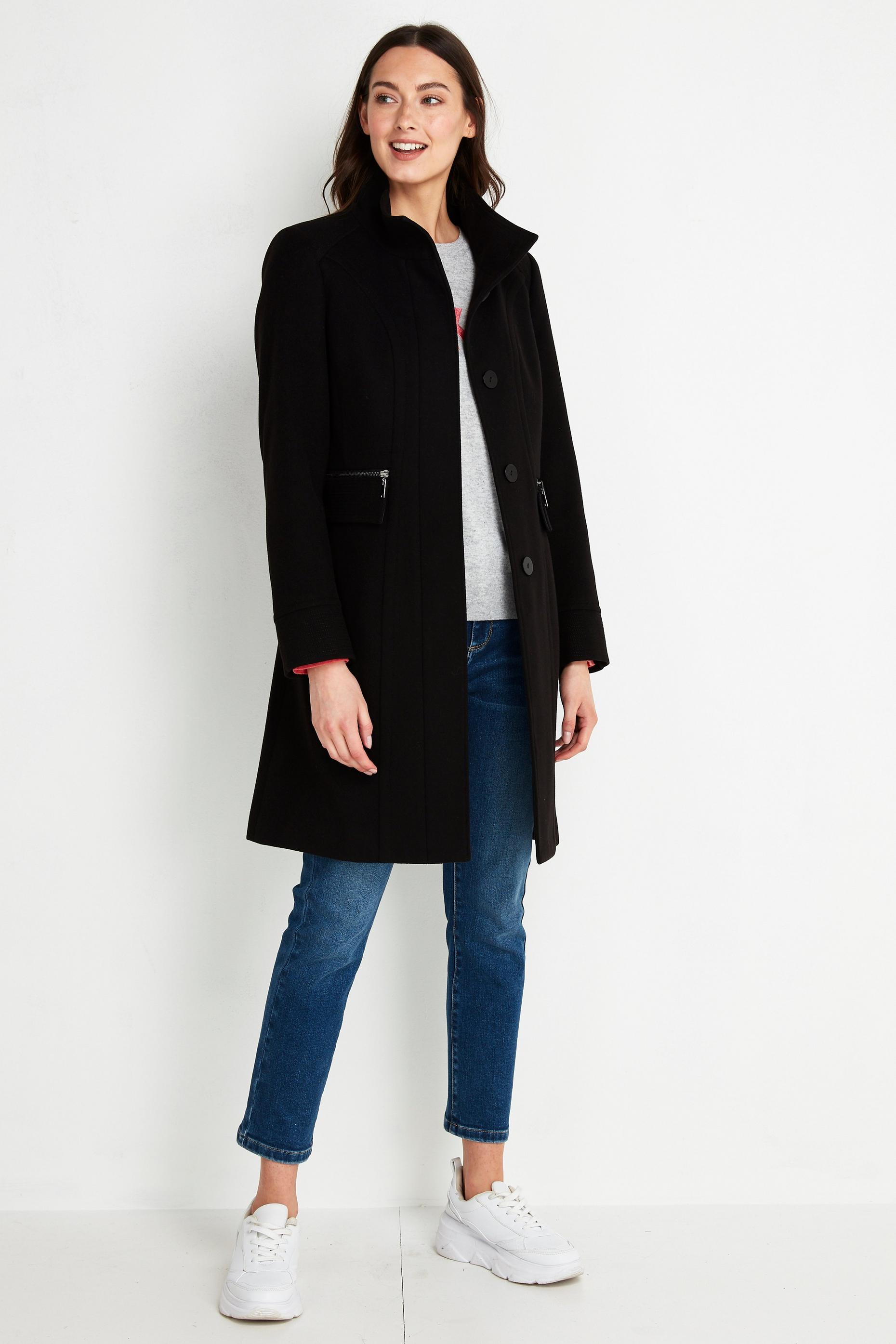 TALL Black Faux Wool Funnel Neck Coat