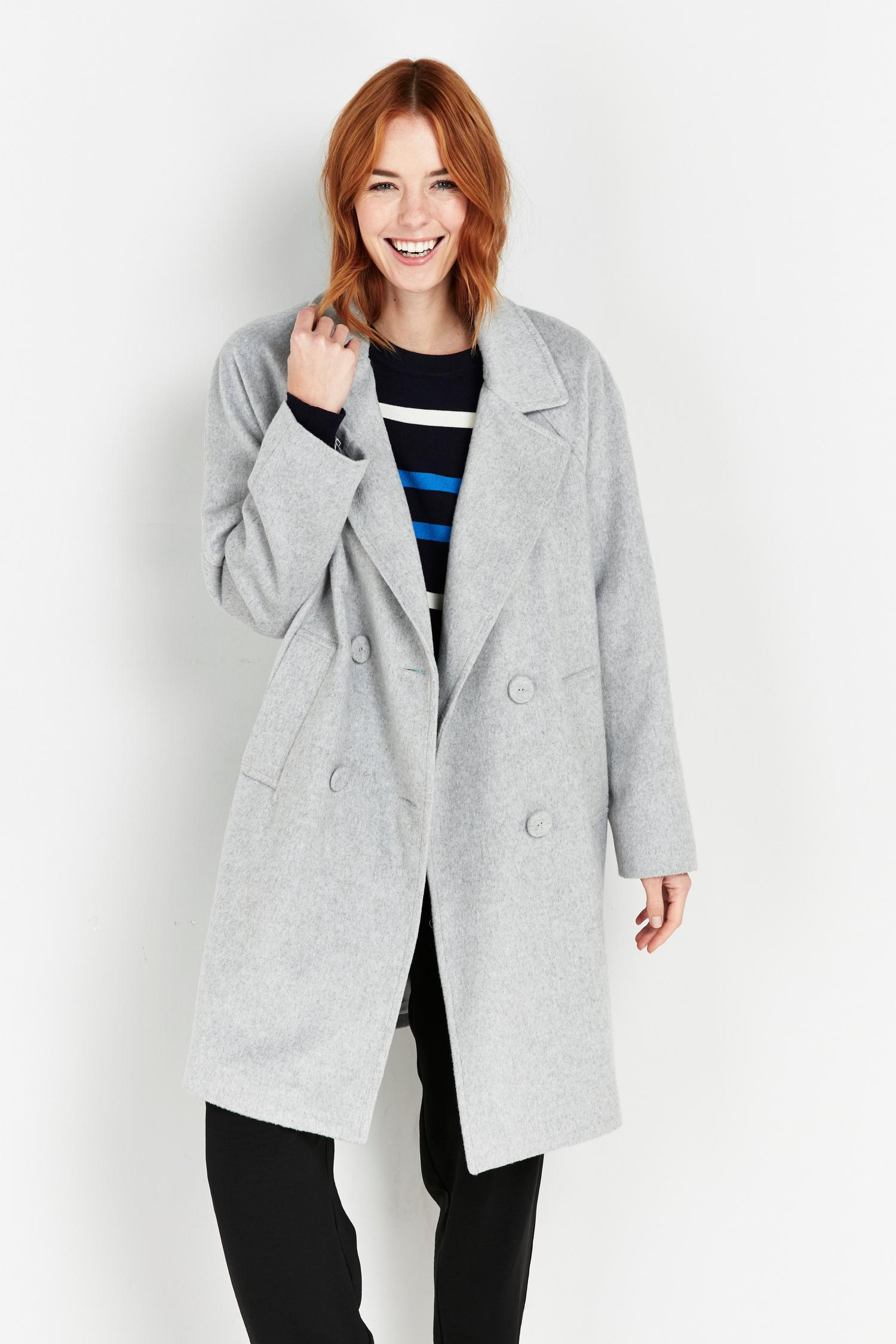 131 TALL Grey Double Breasted Coat image number 4