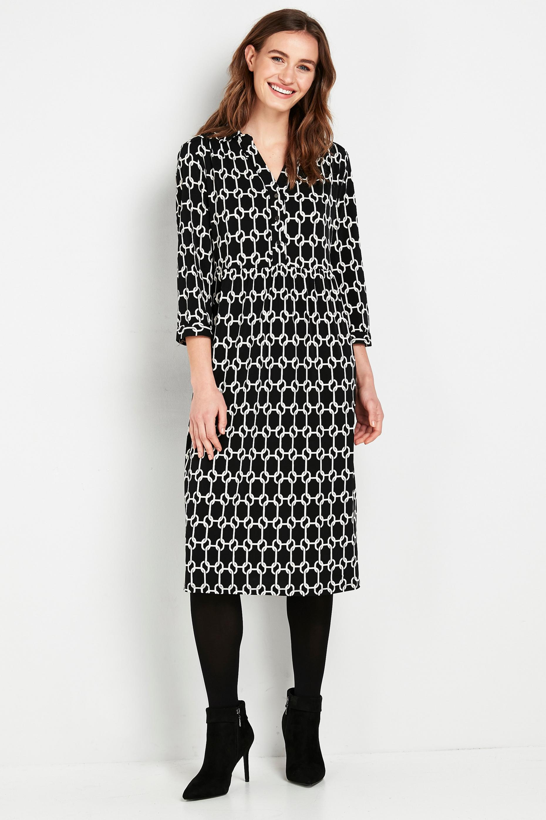 TALL Black Chain Print Shirt Dress