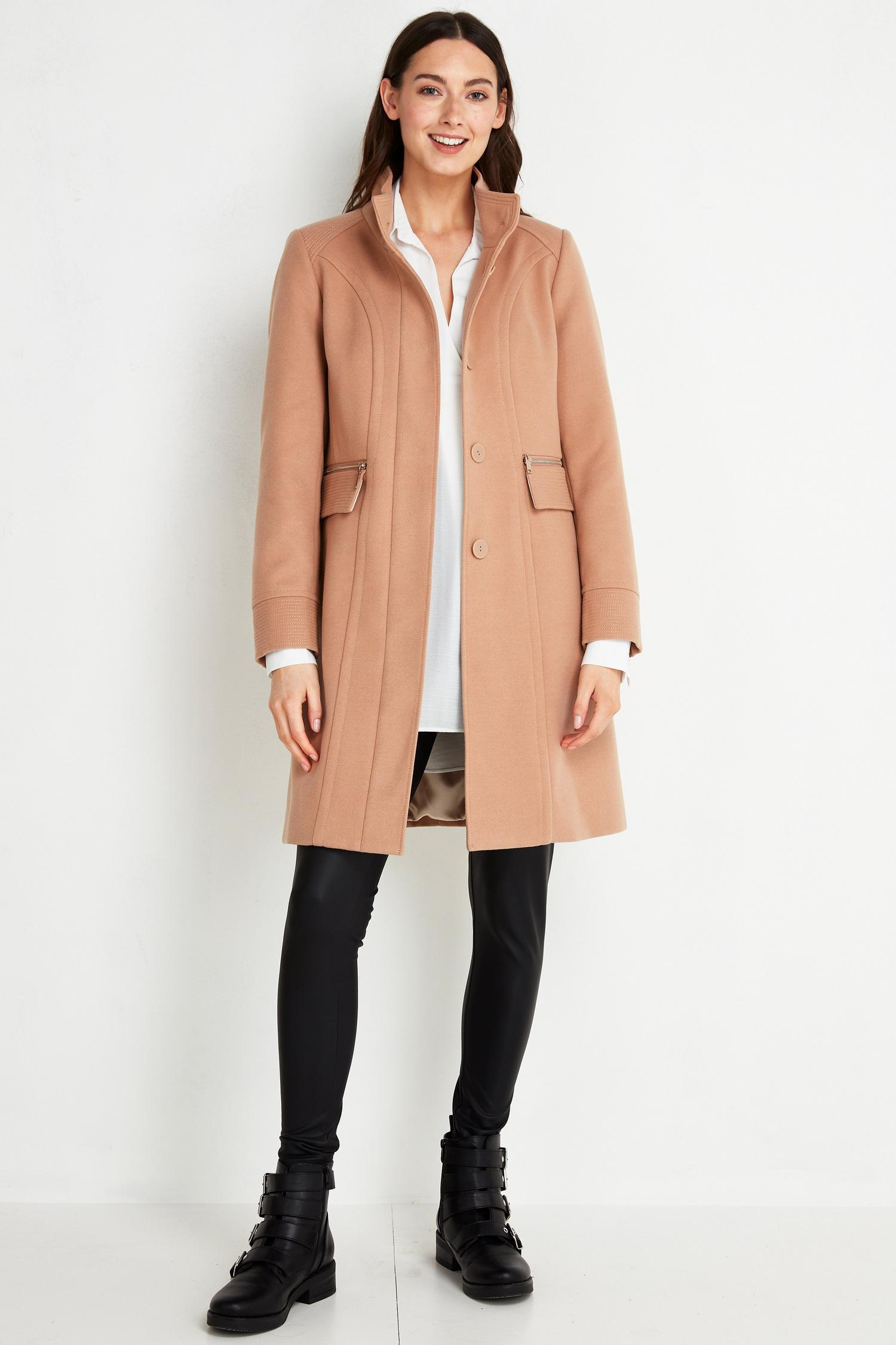 111 TALL Camel Faux Wool Funnel Neck Coat image number 1