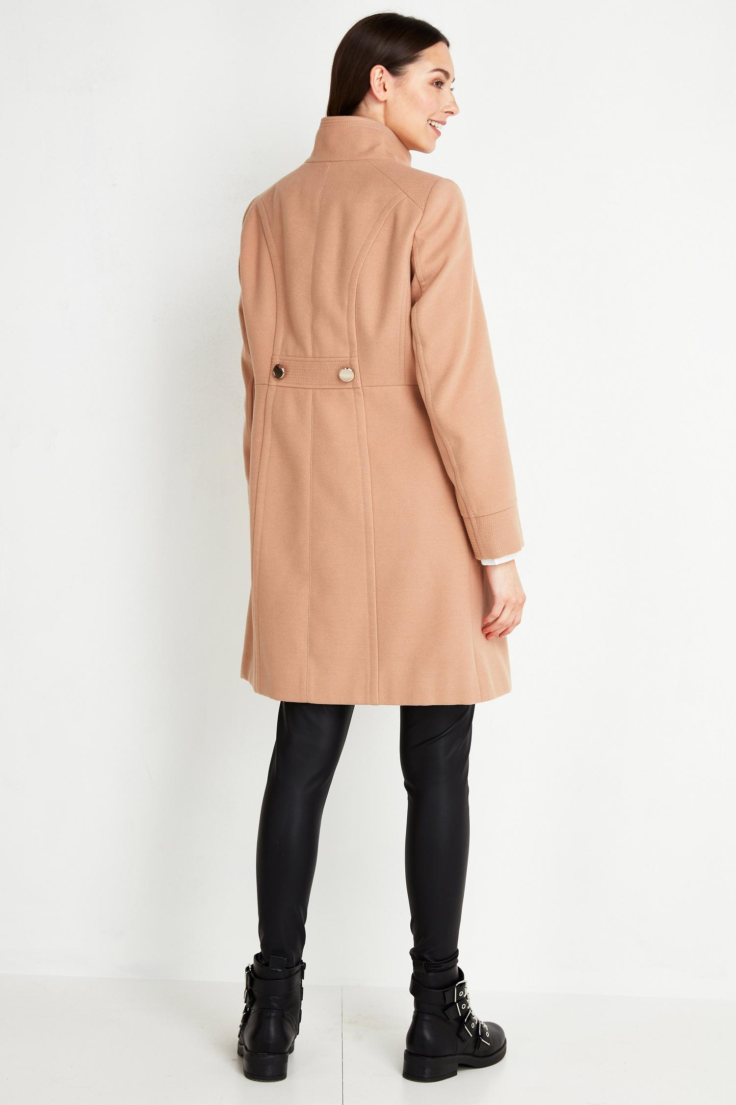 111 TALL Camel Faux Wool Funnel Neck Coat image number 2