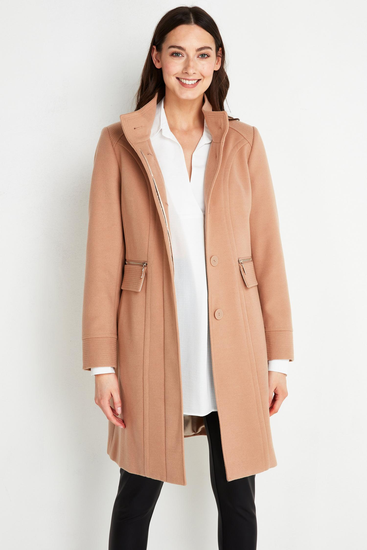 111 TALL Camel Faux Wool Funnel Neck Coat image number 3