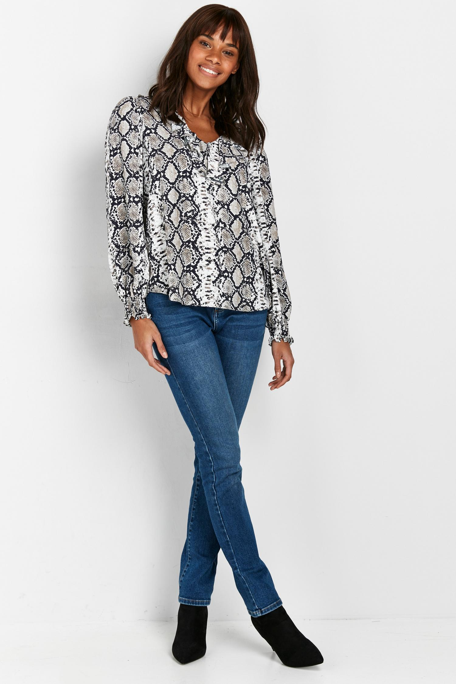131 Tall Grey Snake Print Ruffle Blouse image number 1