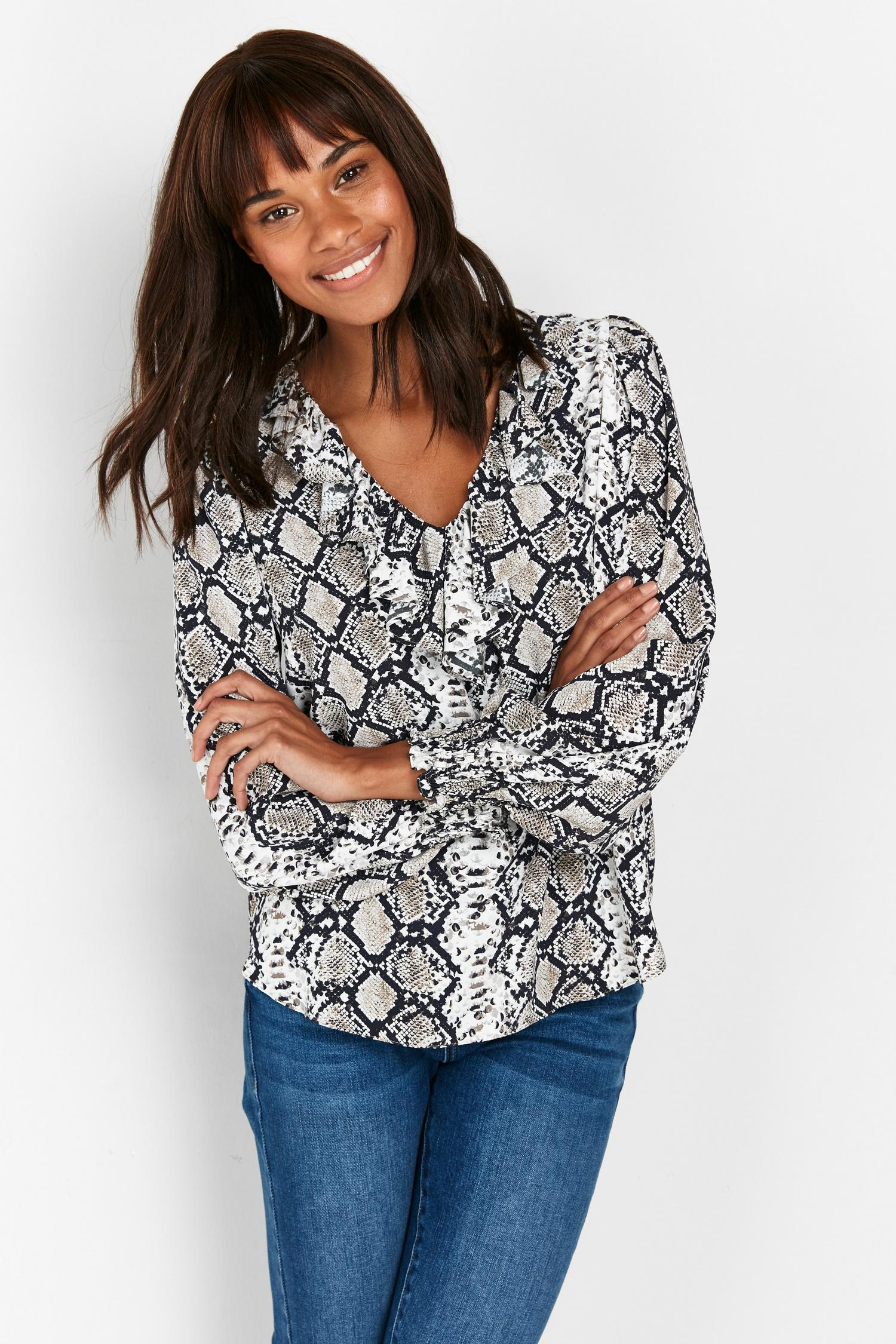 131 Tall Grey Snake Print Ruffle Blouse image number 3