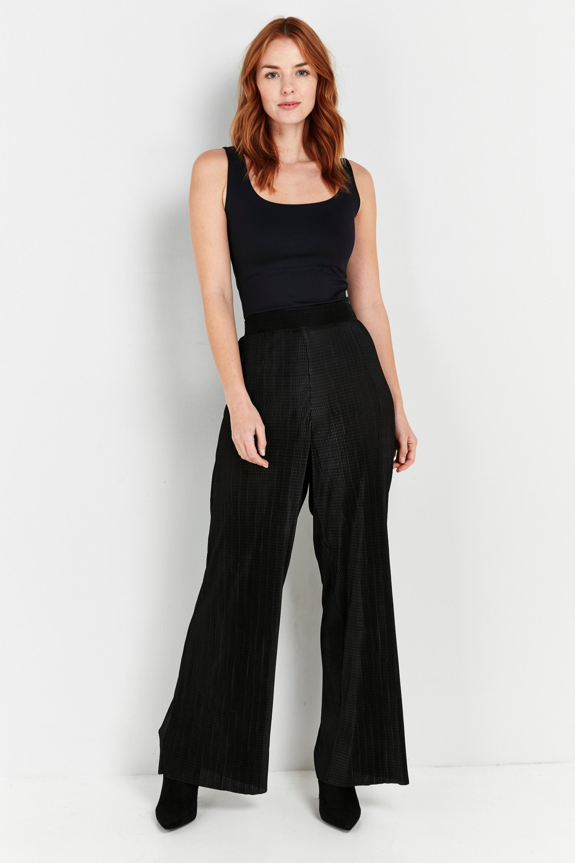 Tall Black Plisse Wide Leg Trouser