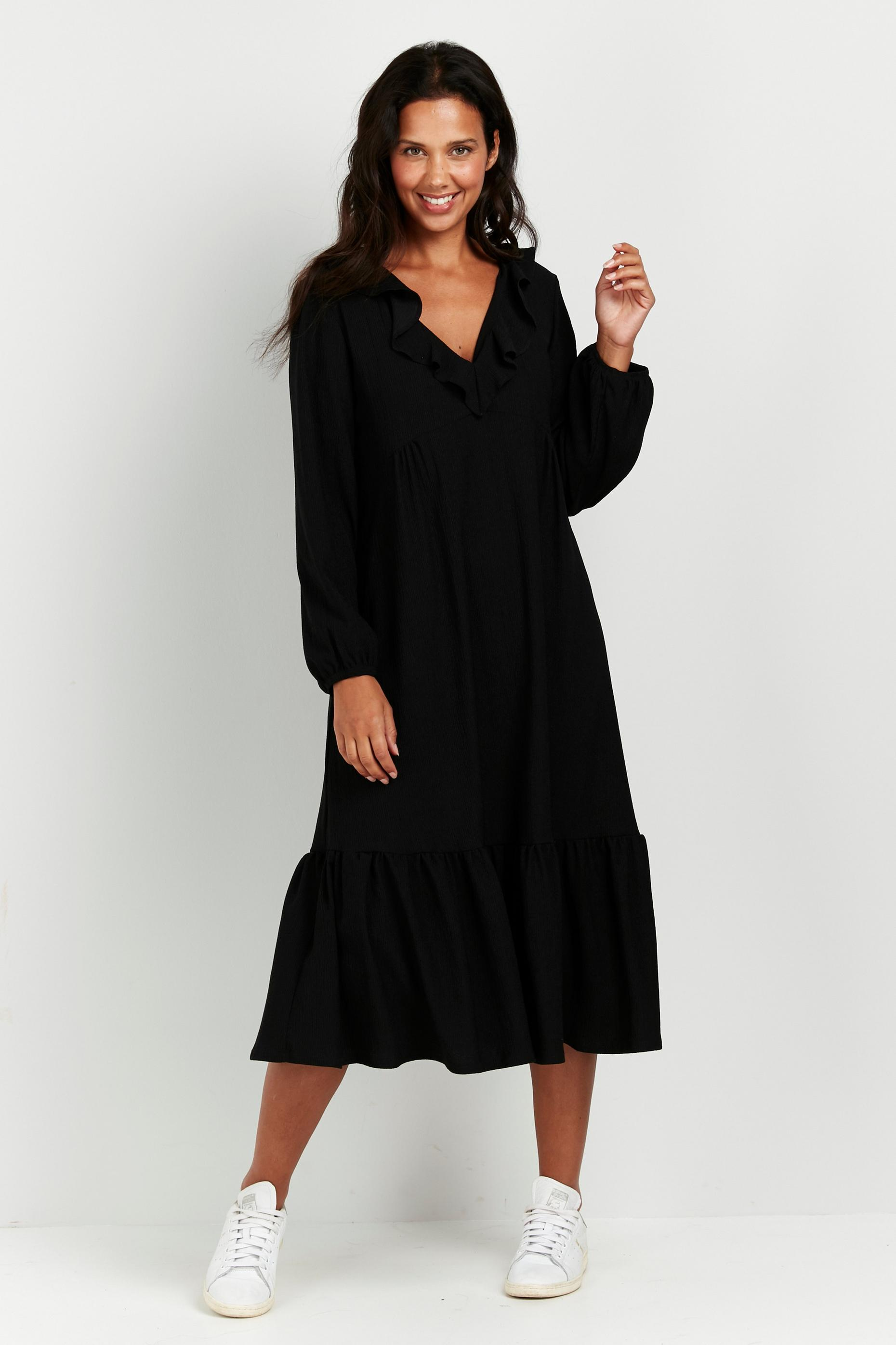 TALL Black Frill Detail Midi Dress