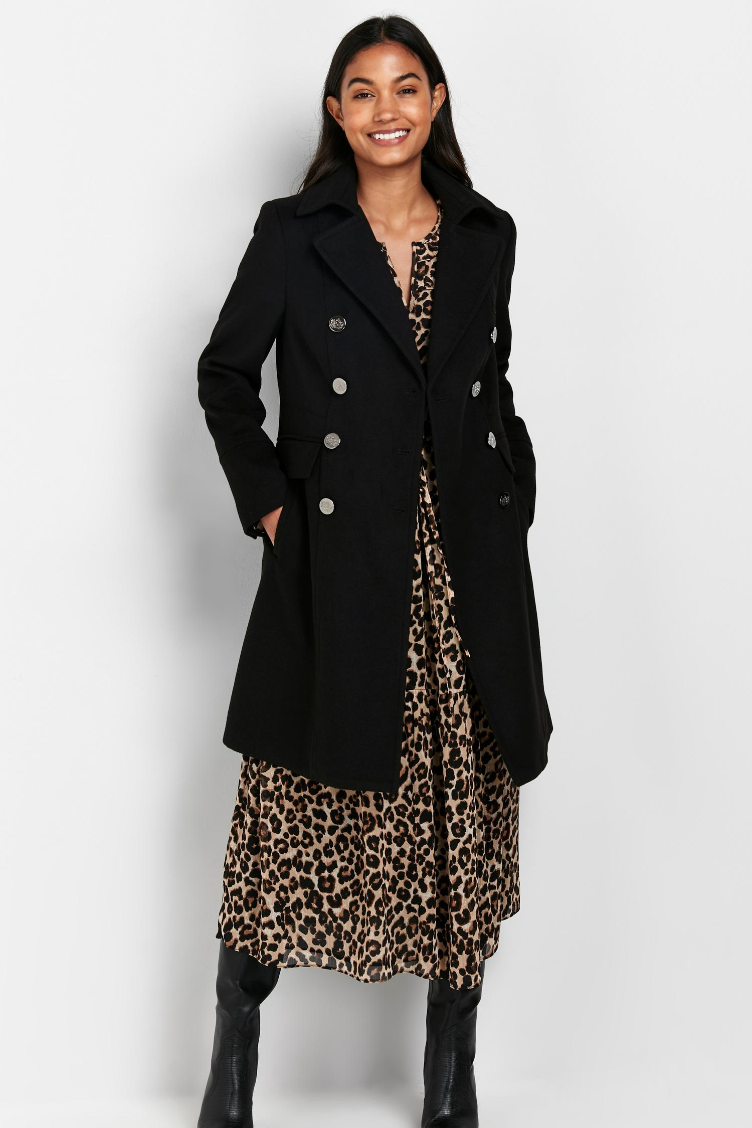 105 Black Faux Wool Coat image number 1