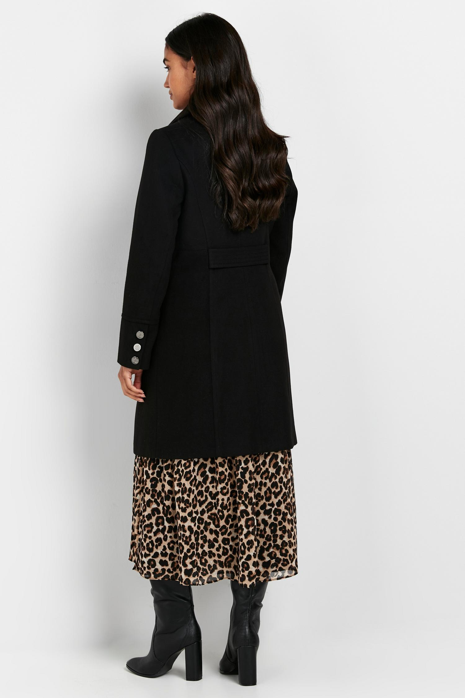 105 Black Faux Wool Coat image number 2