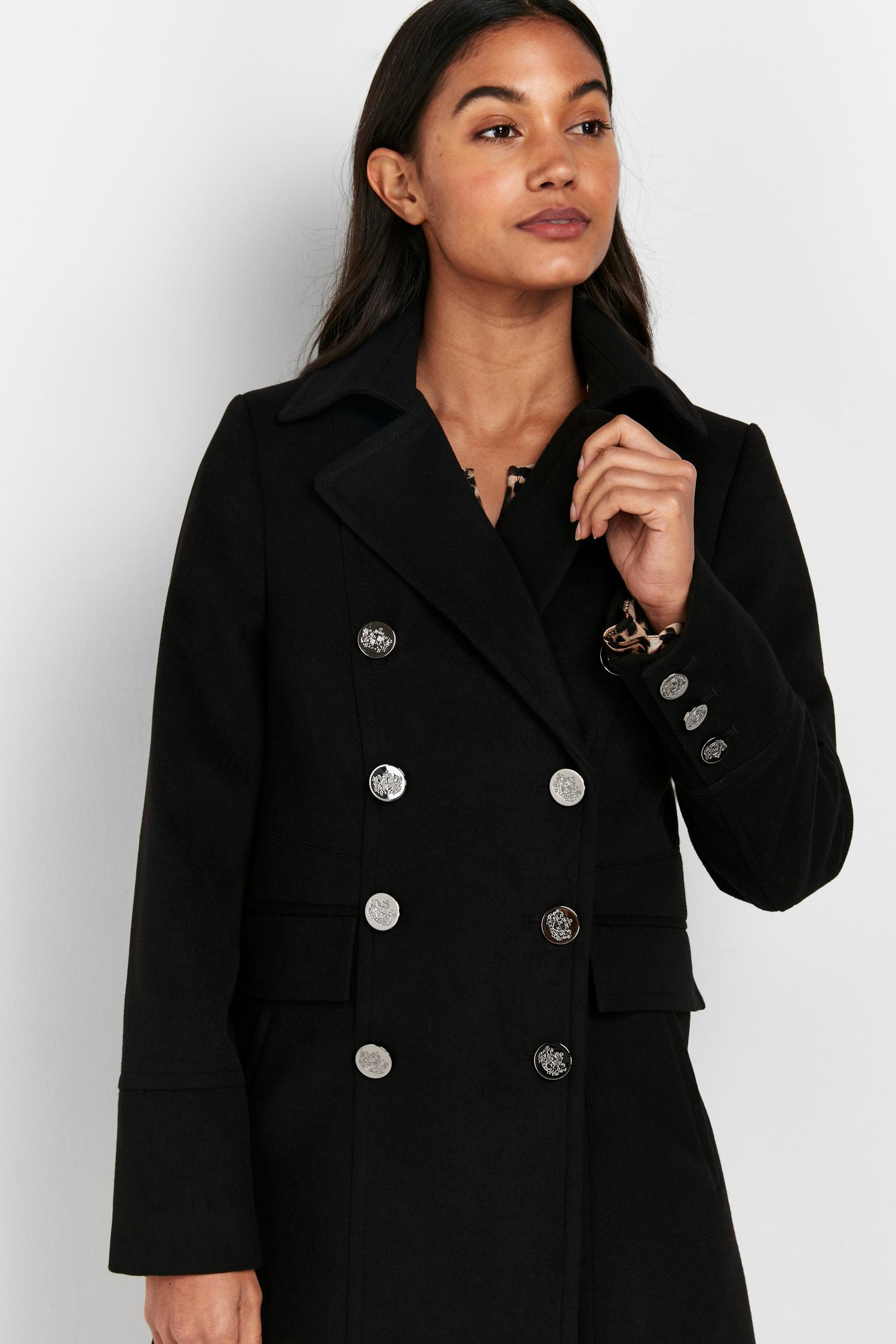 105 Black Faux Wool Coat image number 3