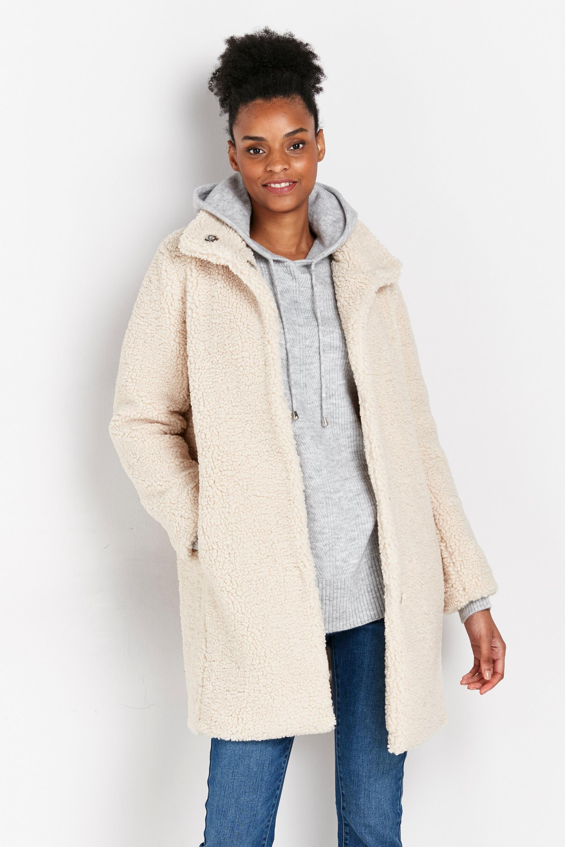 Cream Longline Teddy Coat