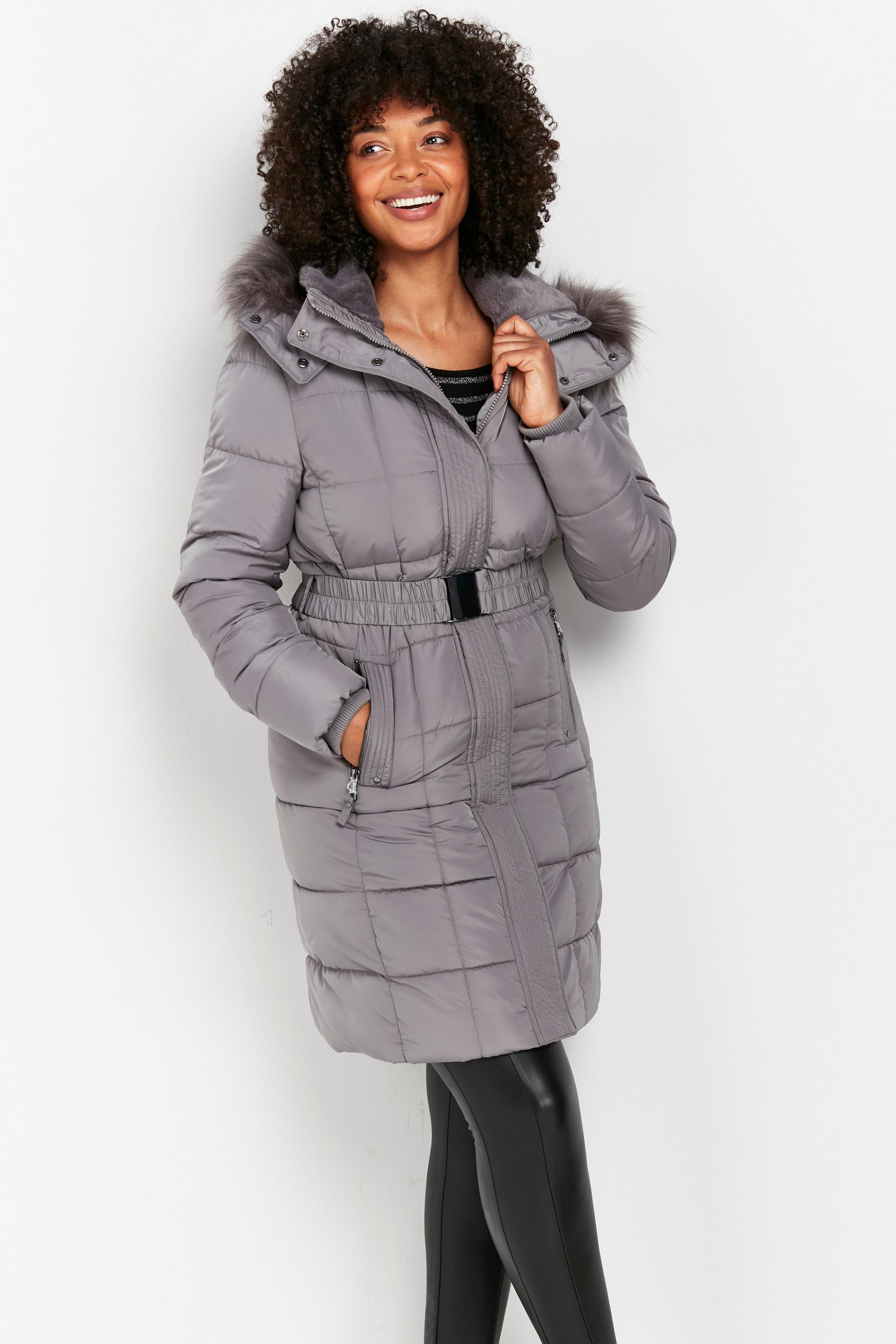 Grey Faux Fur Hood Quilted Coat
