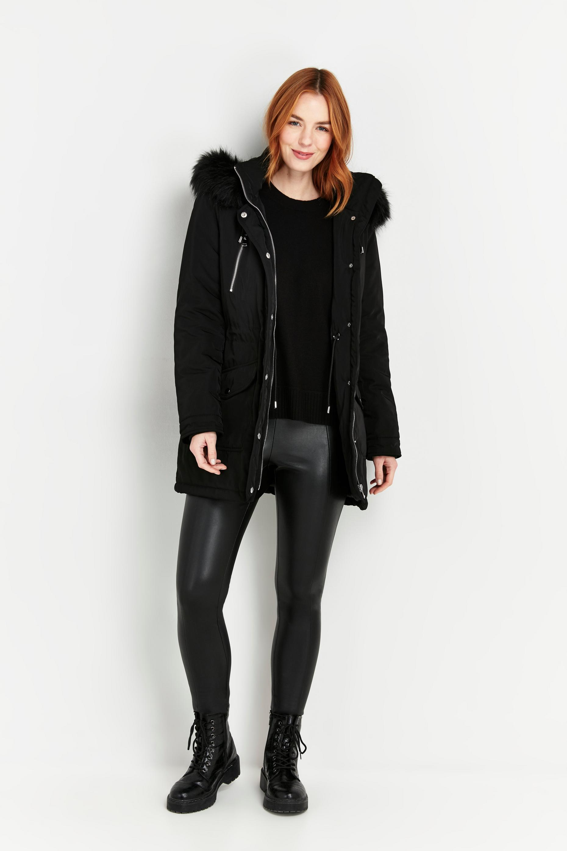 Black Fur Hooded Parka Coat