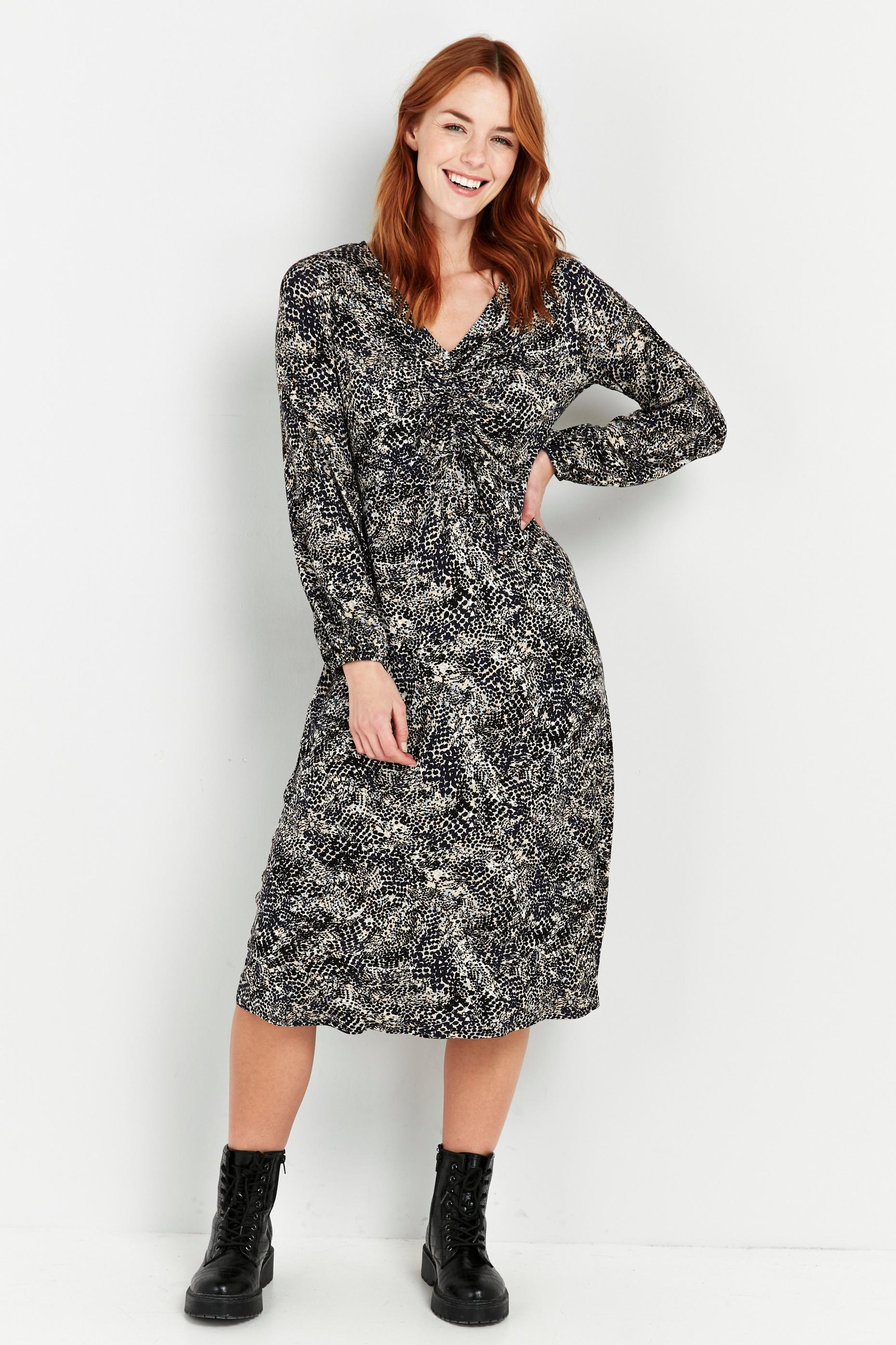 PETITE Navy Animal Print Ruched Dress