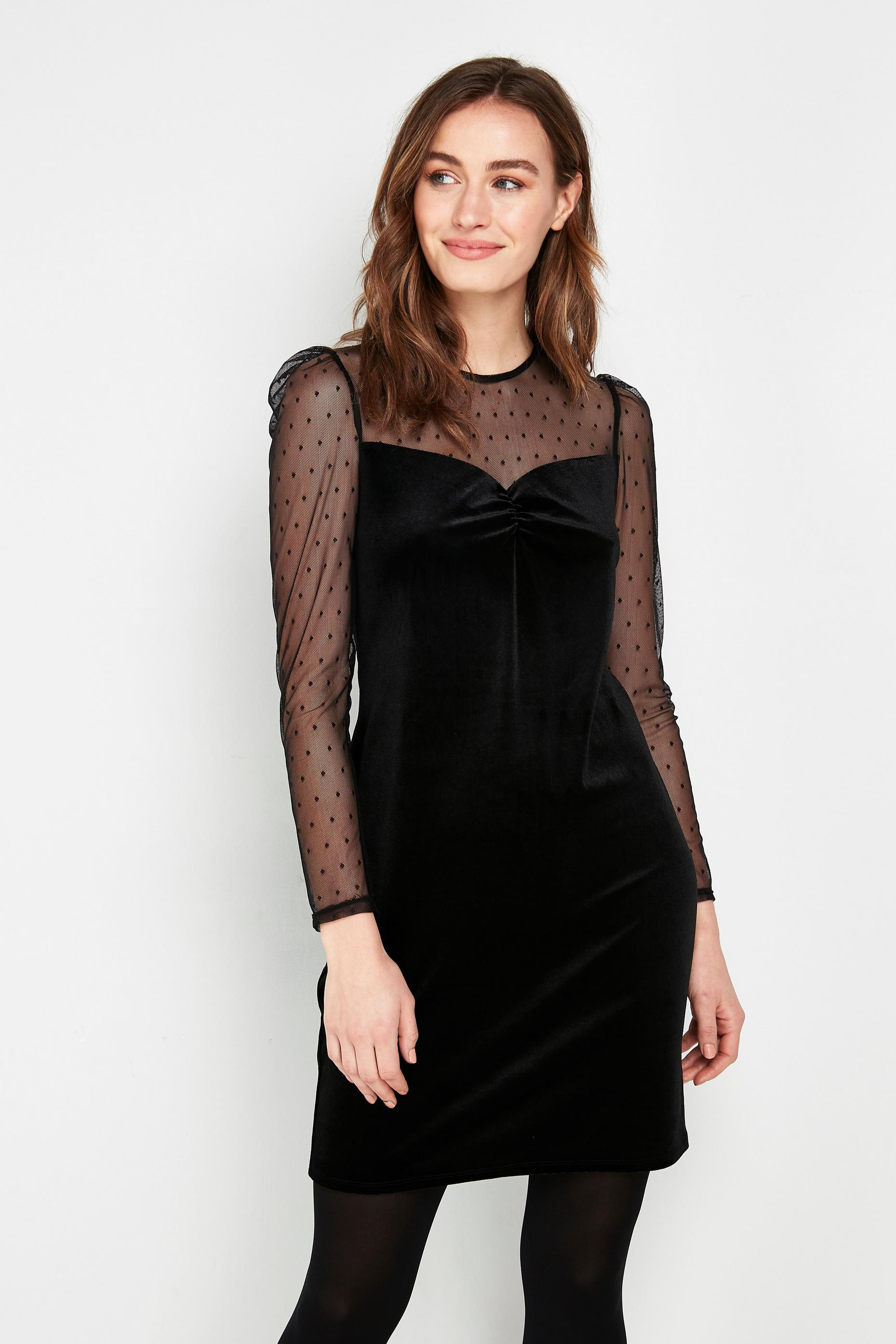 PETITE Black Dobby Print Velvet Dress