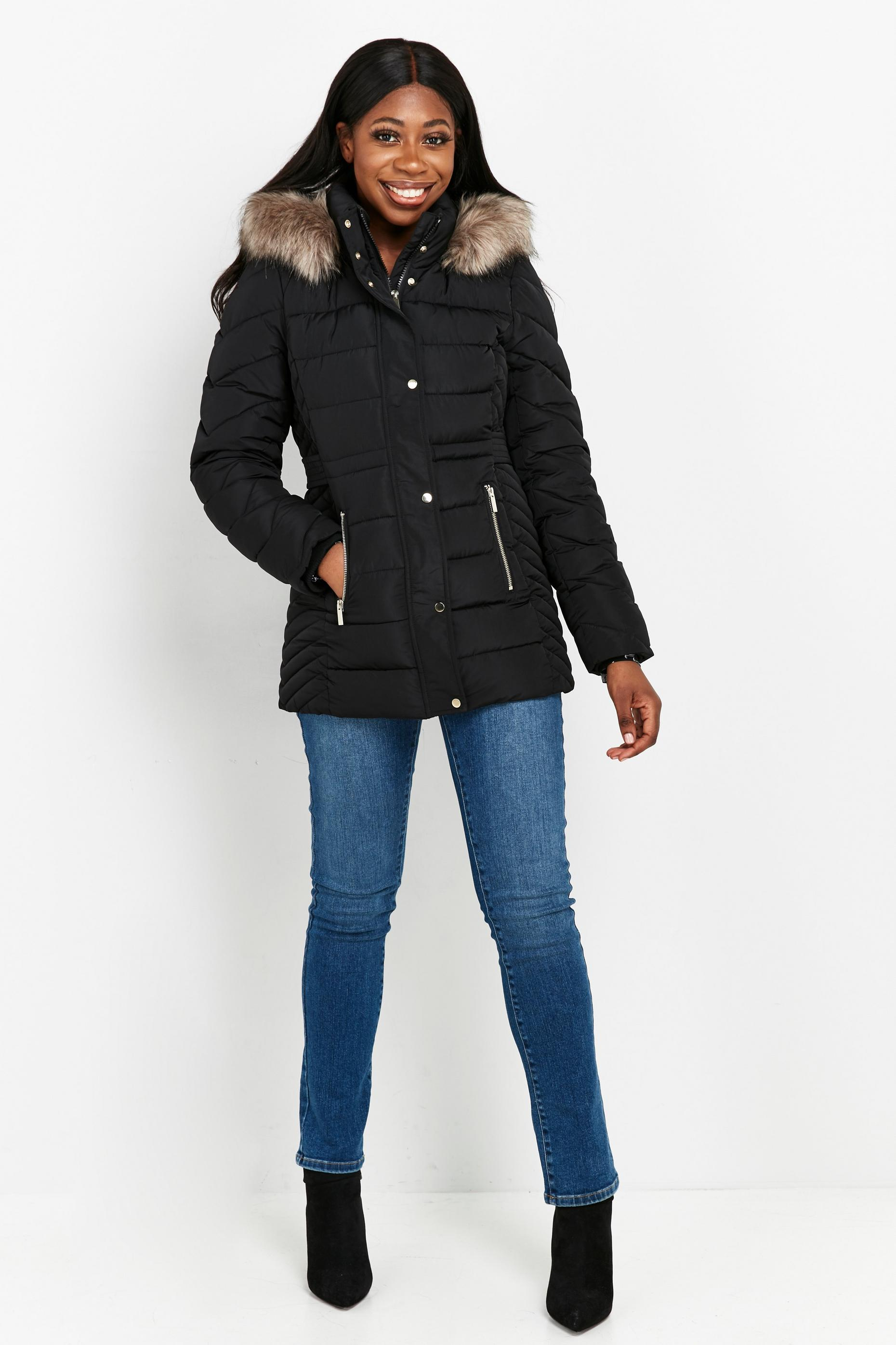 Black Short Padded Hooded Coat