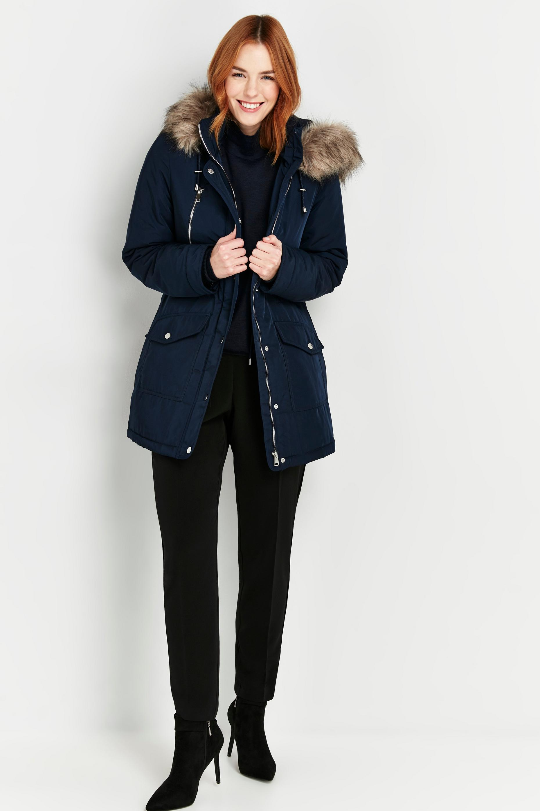 Navy Fur Hooded Parka Coat