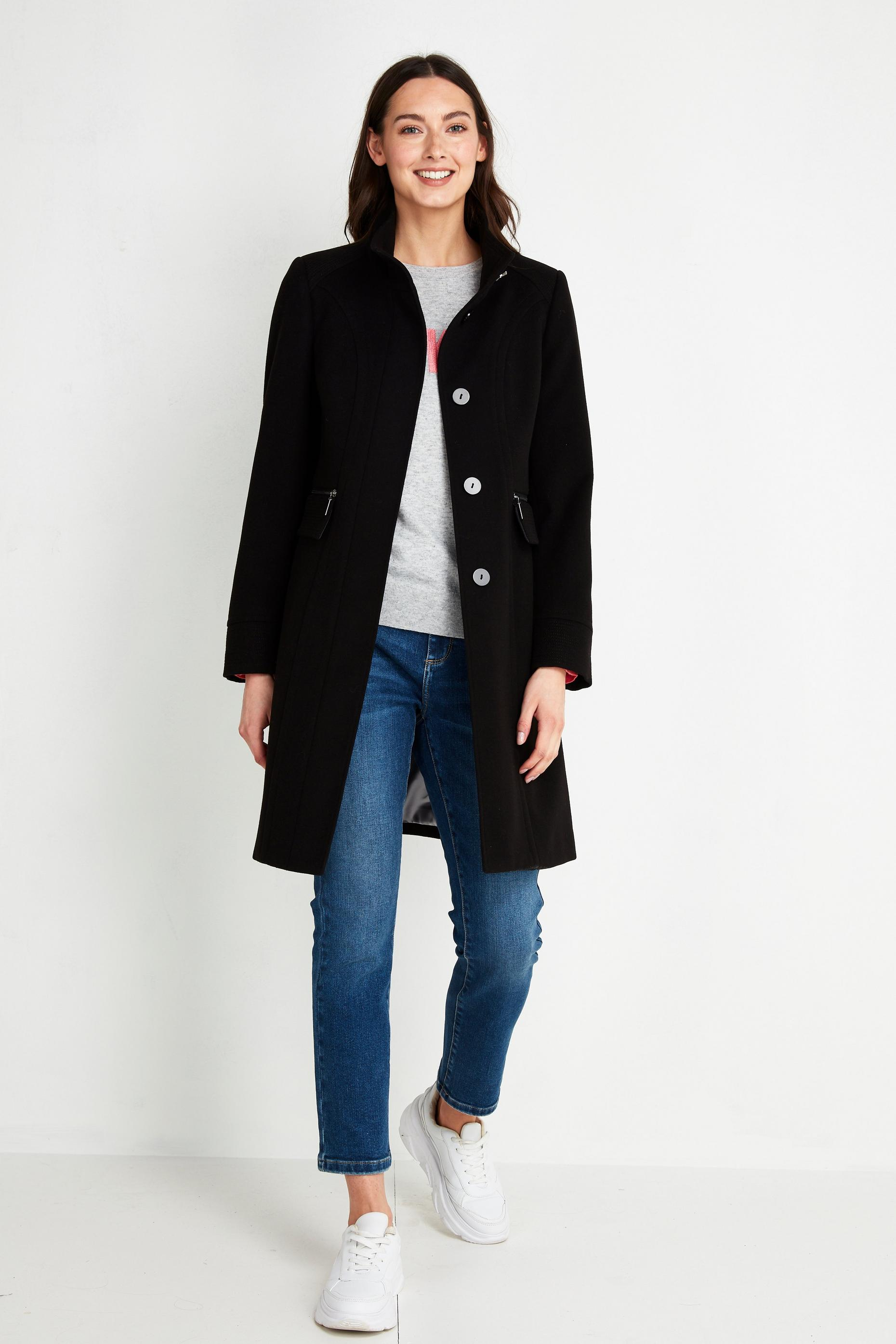 Black Faux Wool Funnel Neck Coat