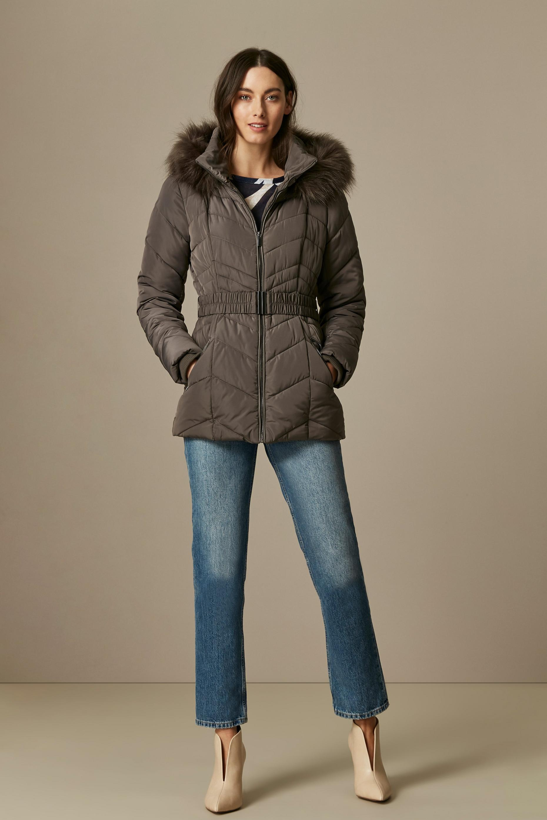 Grey Belted Padded Coat