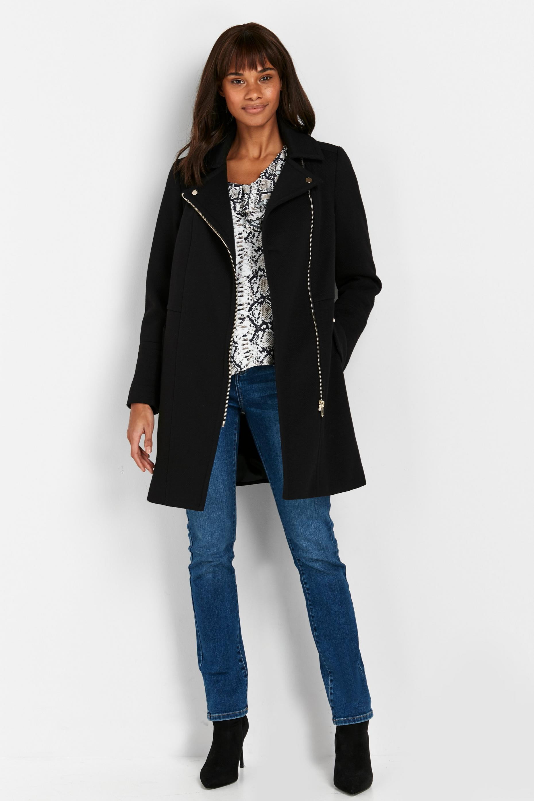 Black Longline Zip Coat