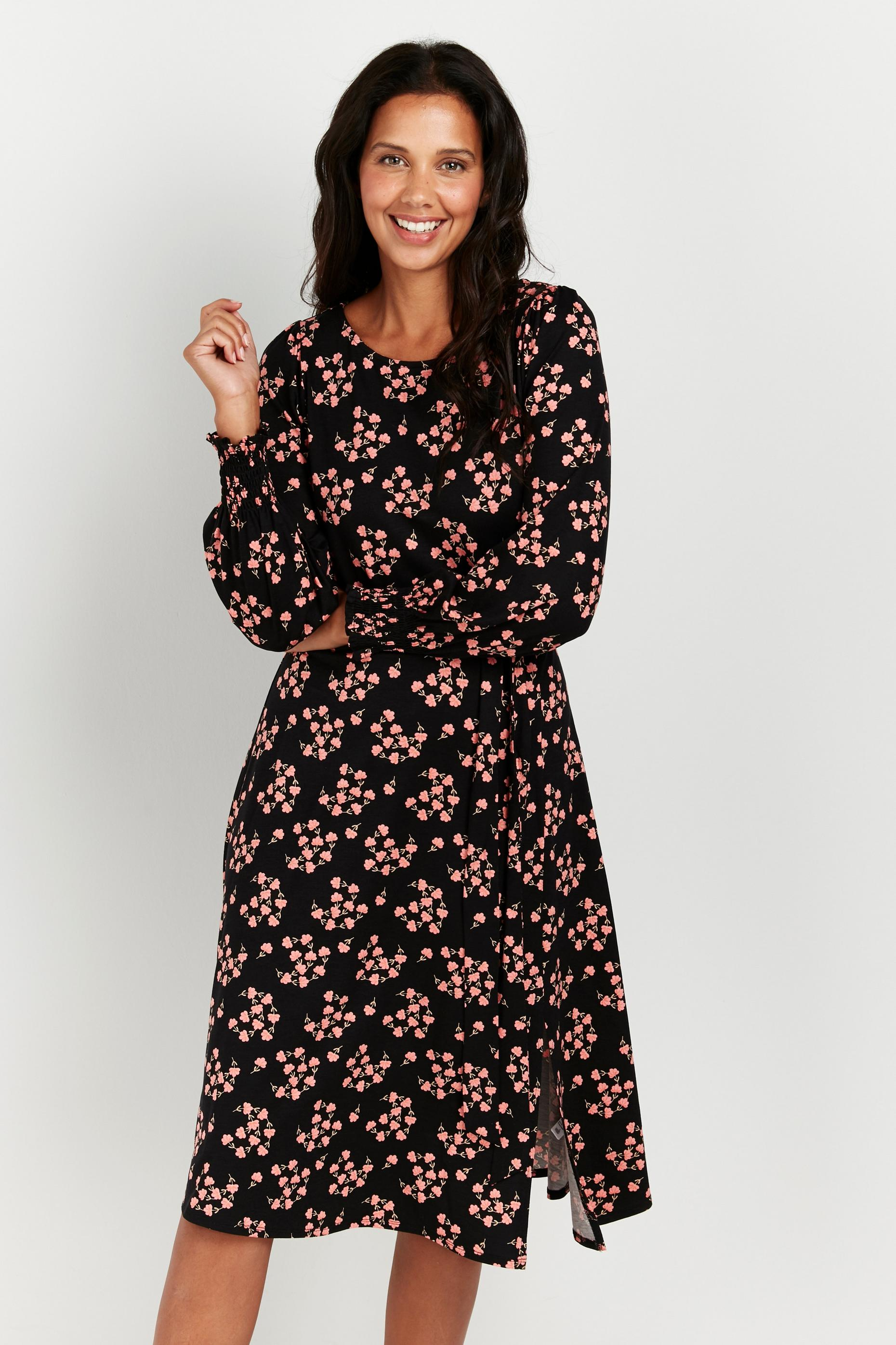 Petite Black Floral Puff Sleeve Midi Dress