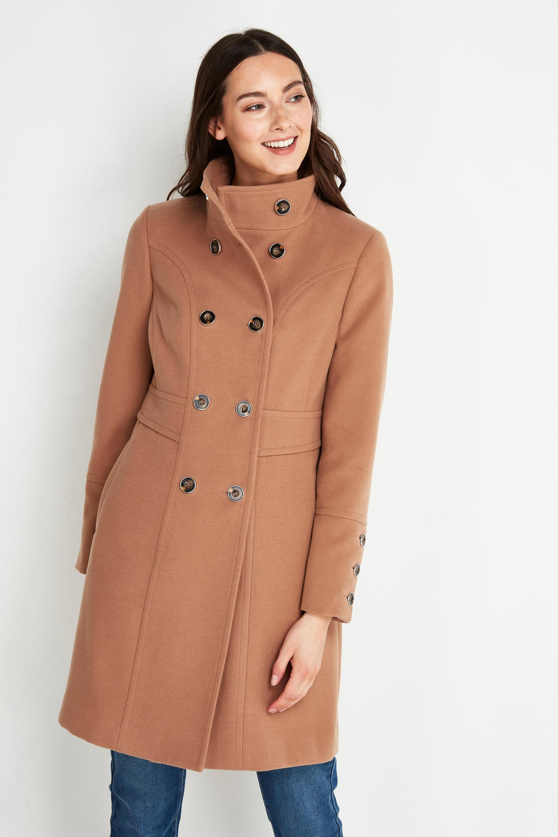 PETITE Camel Double Breasted Coat