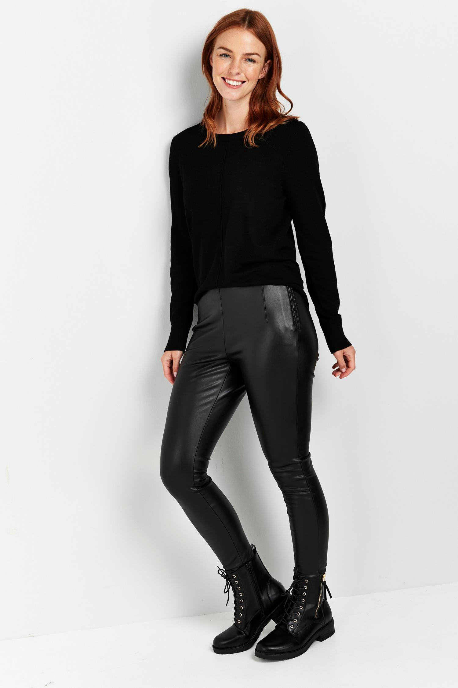105 PETITE Black Faux Leather Legging image number 1