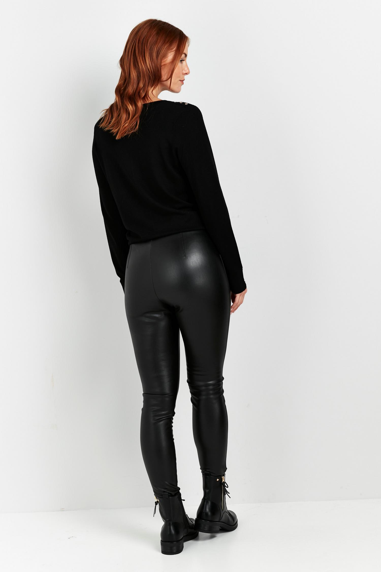 105 PETITE Black Faux Leather Legging image number 2