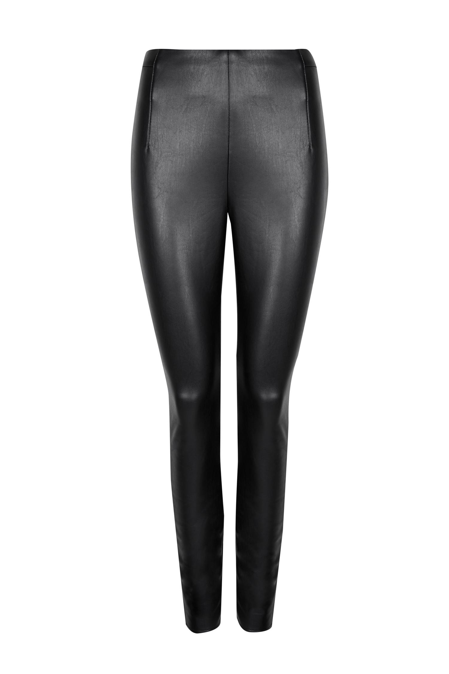 105 PETITE Black Faux Leather Legging image number 4