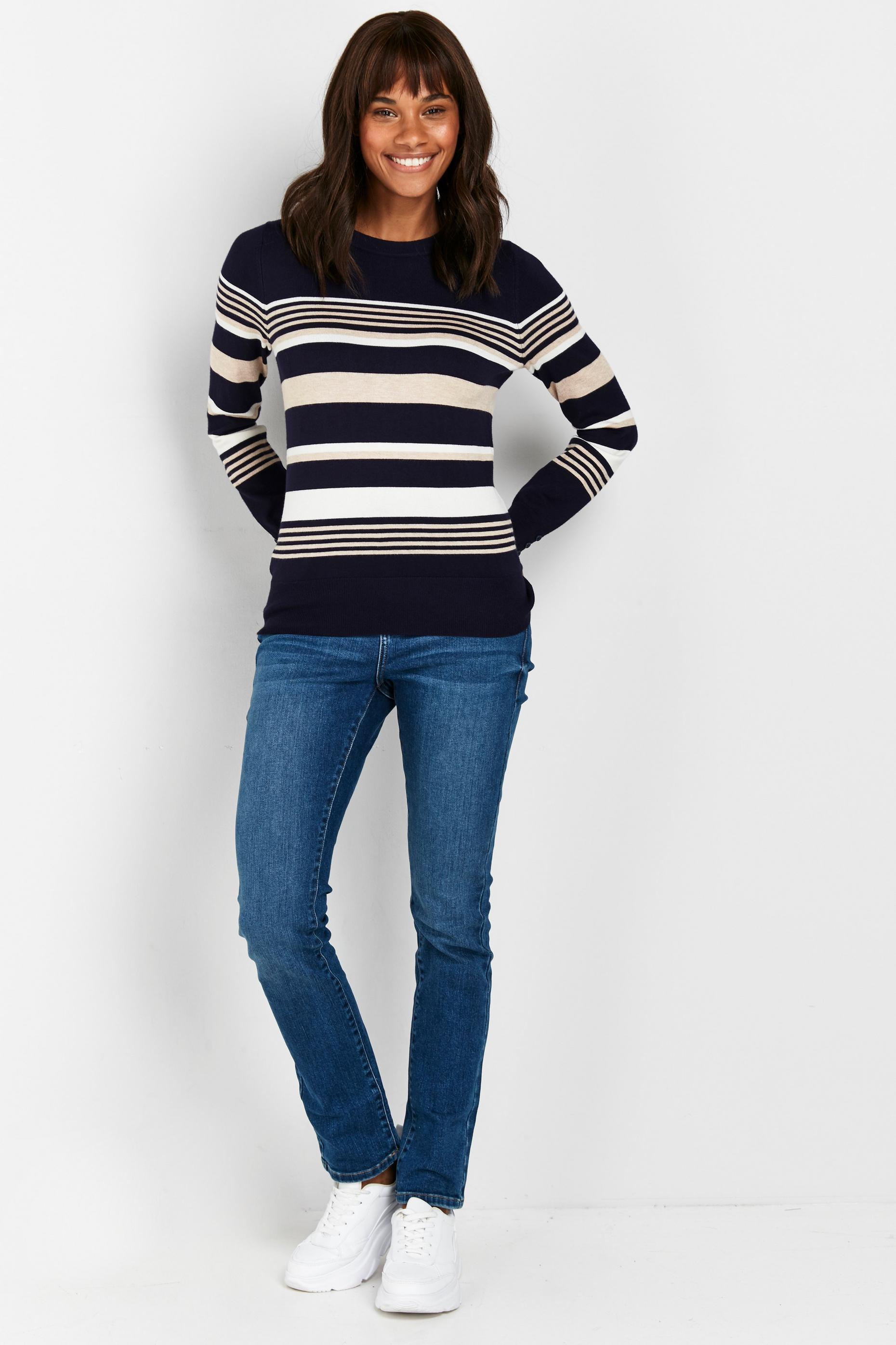 PETITE Navy Striped Jumper