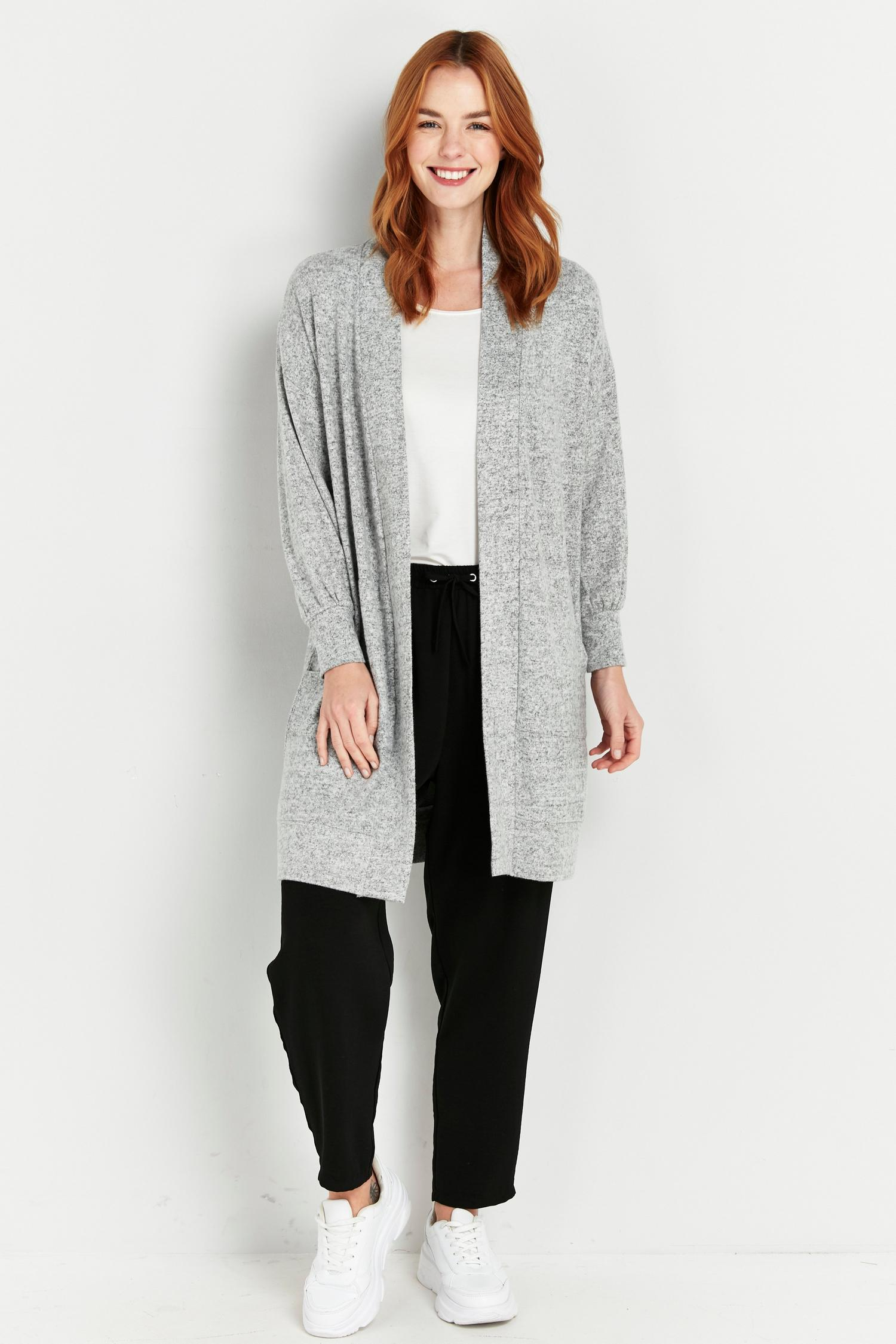 131 PETITE Grey Soft Relaxed Longline Cardigan image number 1