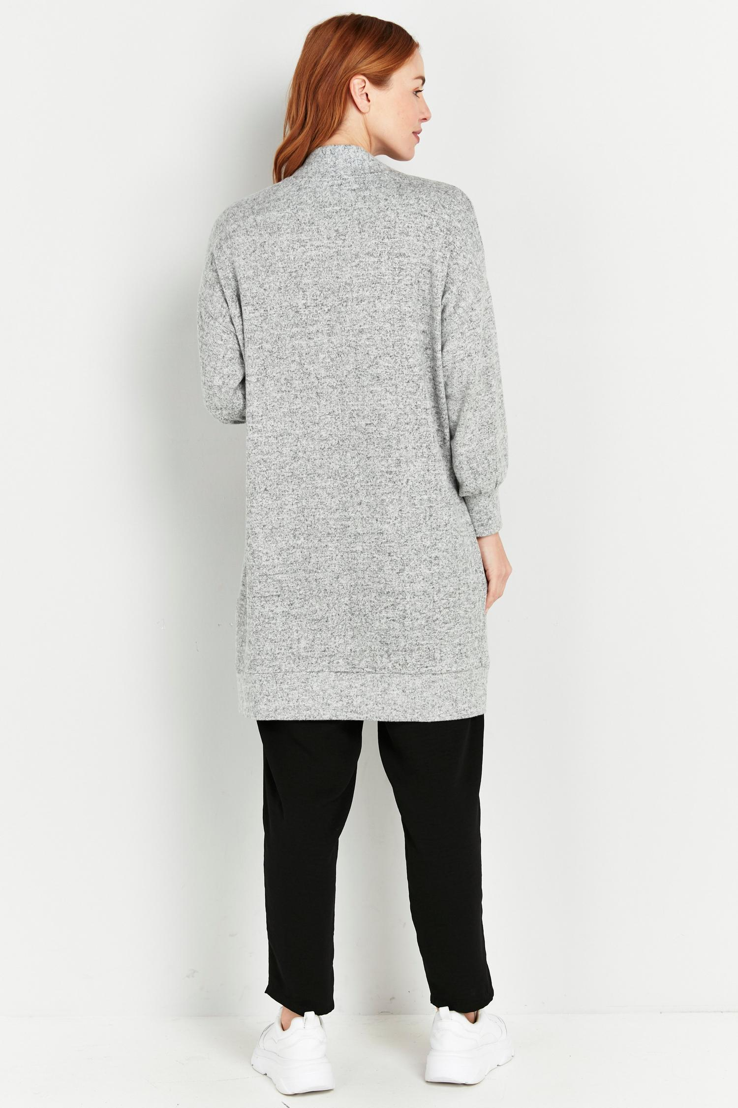 131 PETITE Grey Soft Relaxed Longline Cardigan image number 2