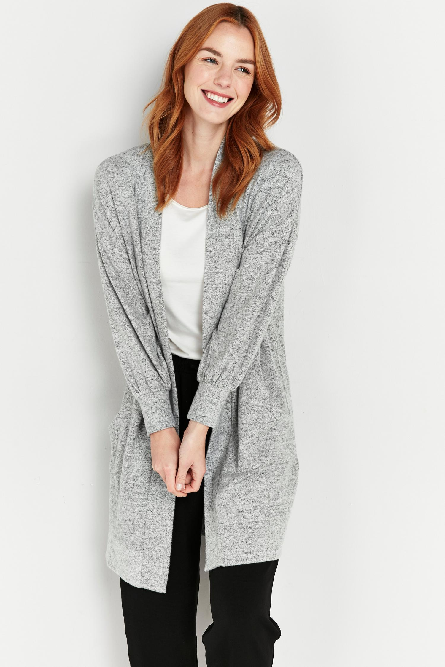 131 PETITE Grey Soft Relaxed Longline Cardigan image number 3