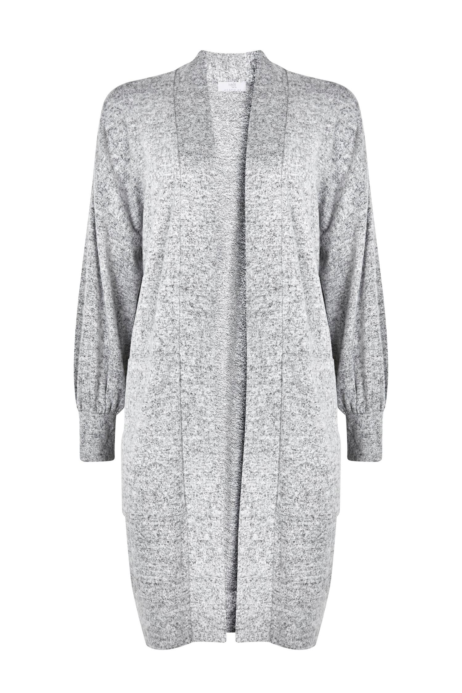 131 PETITE Grey Soft Relaxed Longline Cardigan image number 4