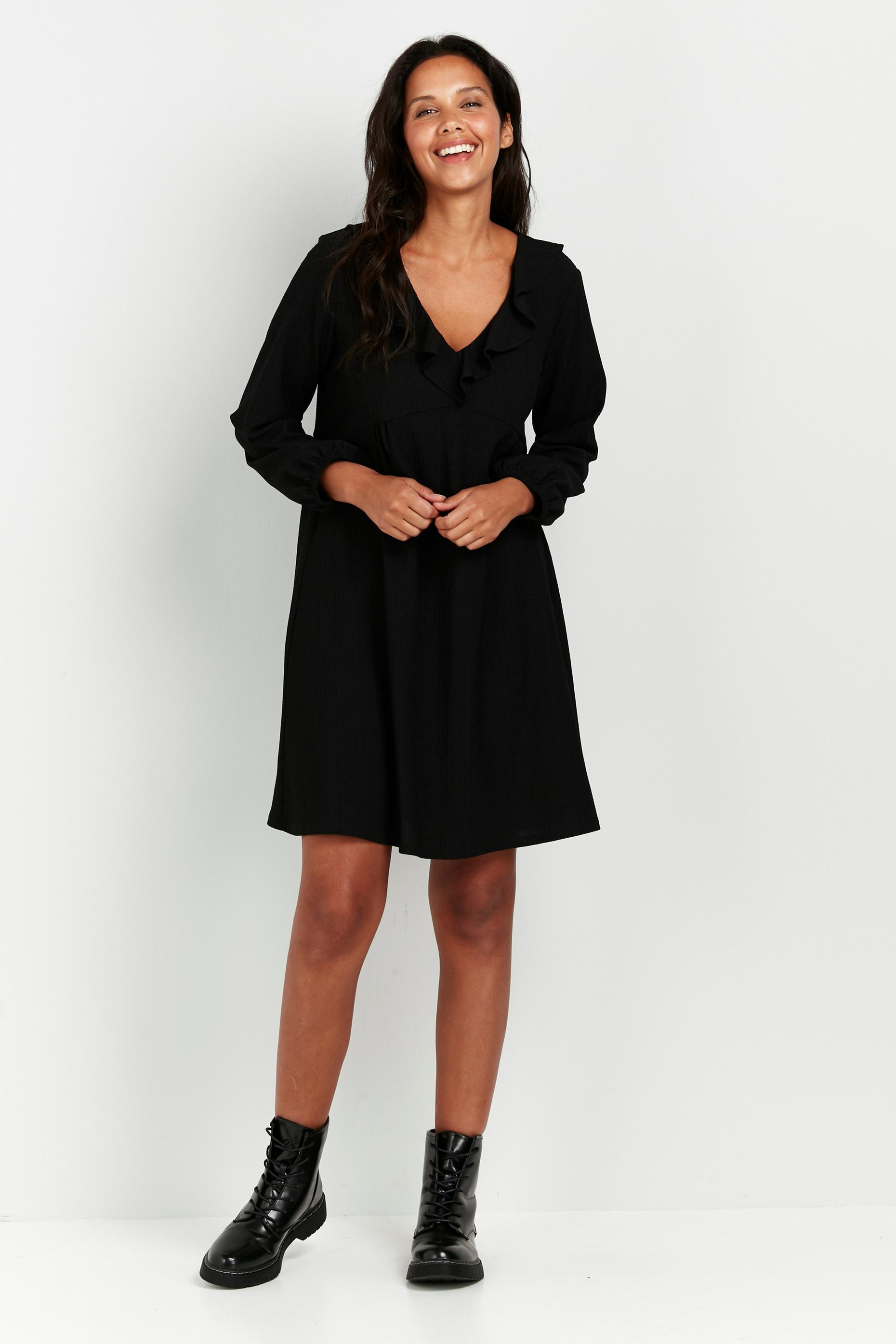 PETITE Black Puff Sleeve Frill Detail Dress