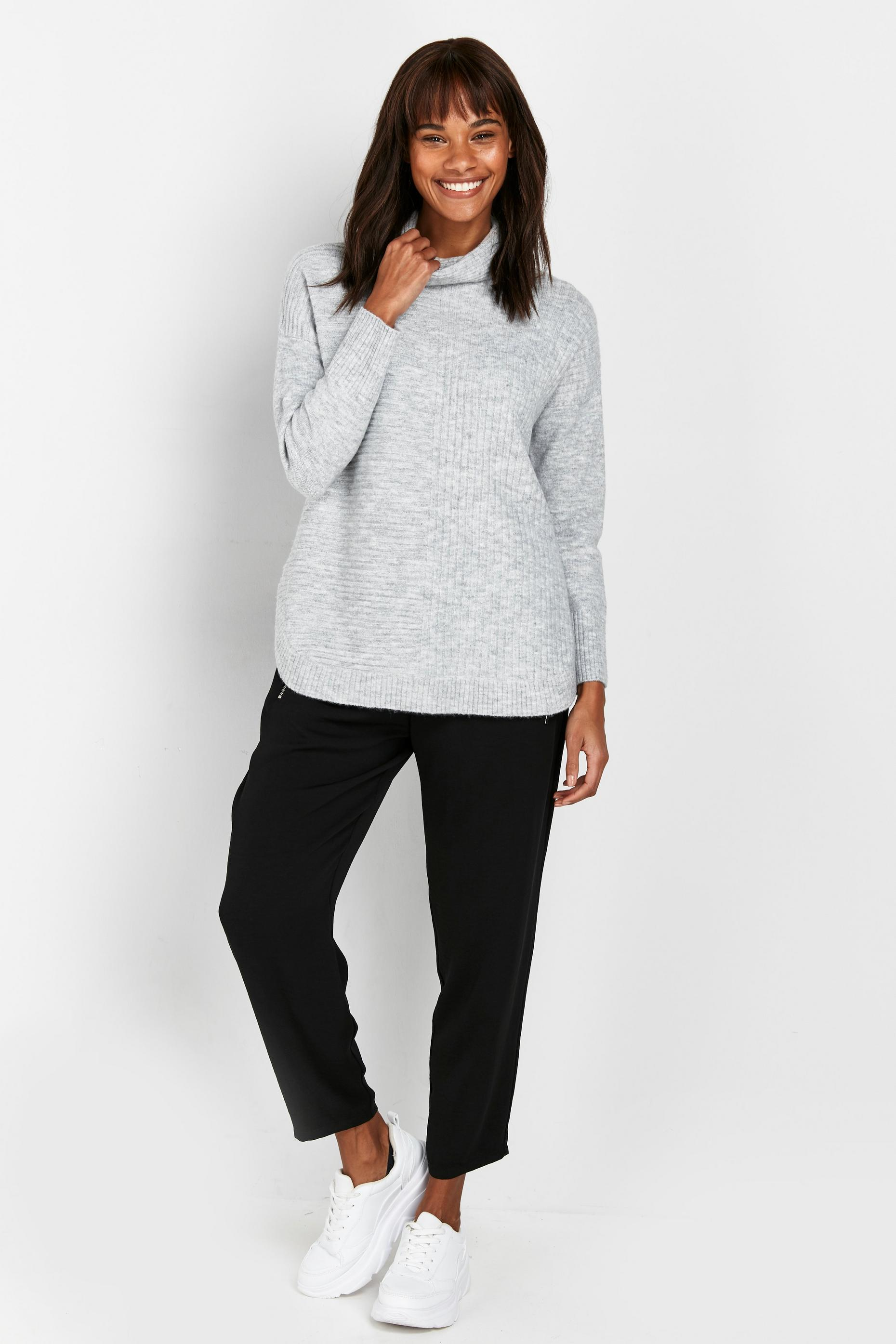 PETITE Grey Ribbed Jumper