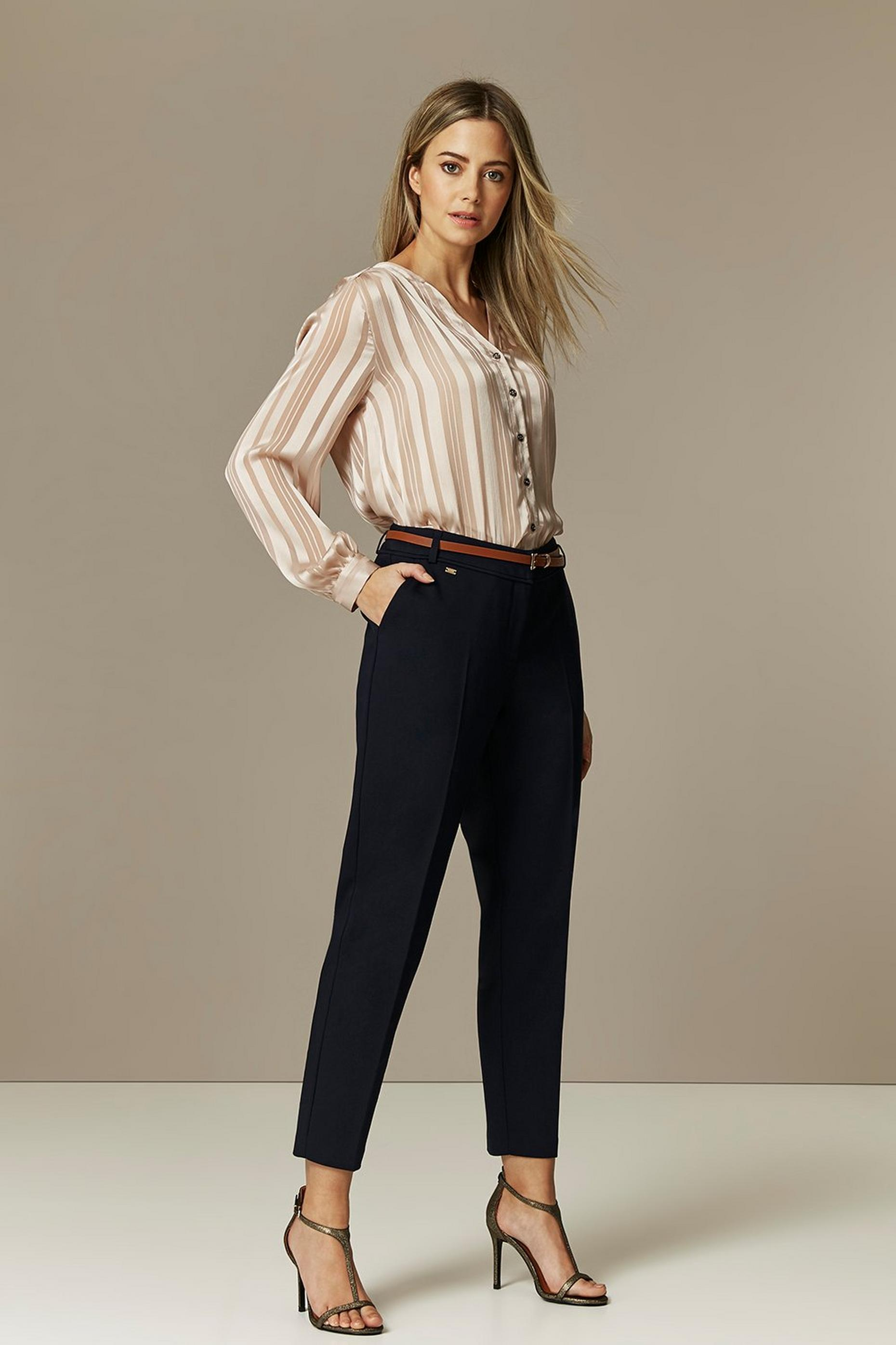 PETITE Navy Belted Cigarette Trouser