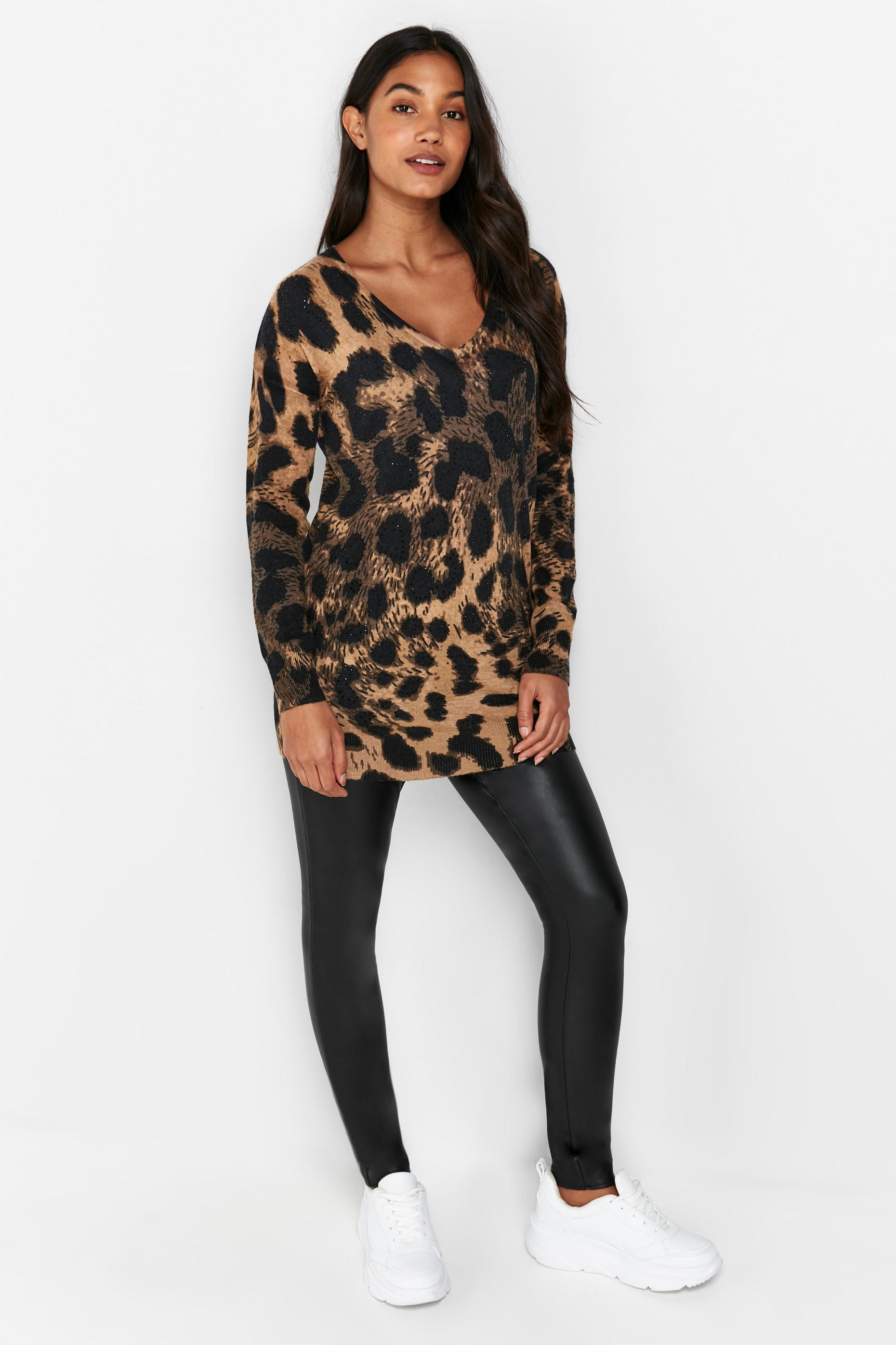 PETITE Brown Animal Print Embellished Jumper