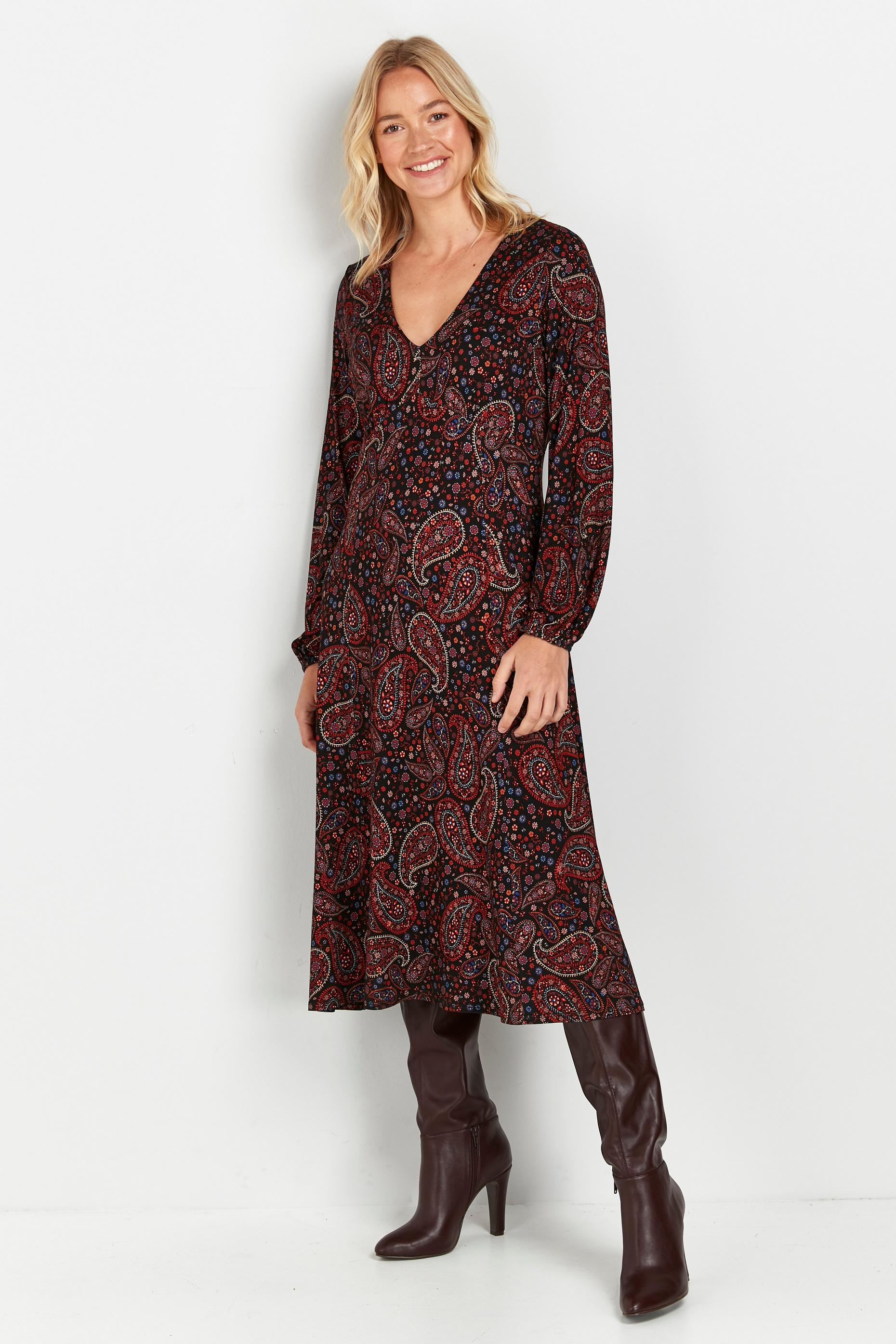 Black Paisley Print Midi Dress