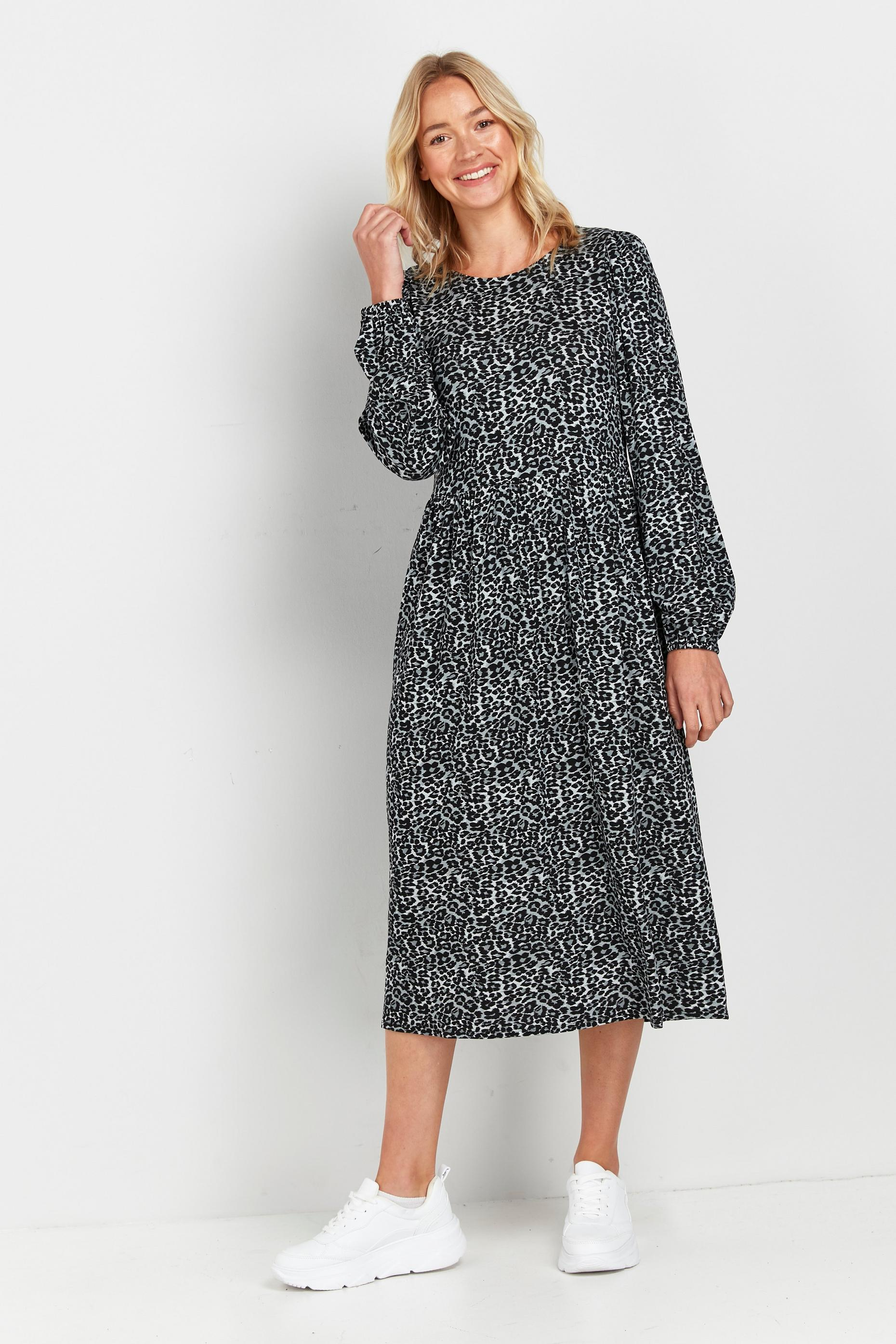 Grey Animal Print Midi Dress