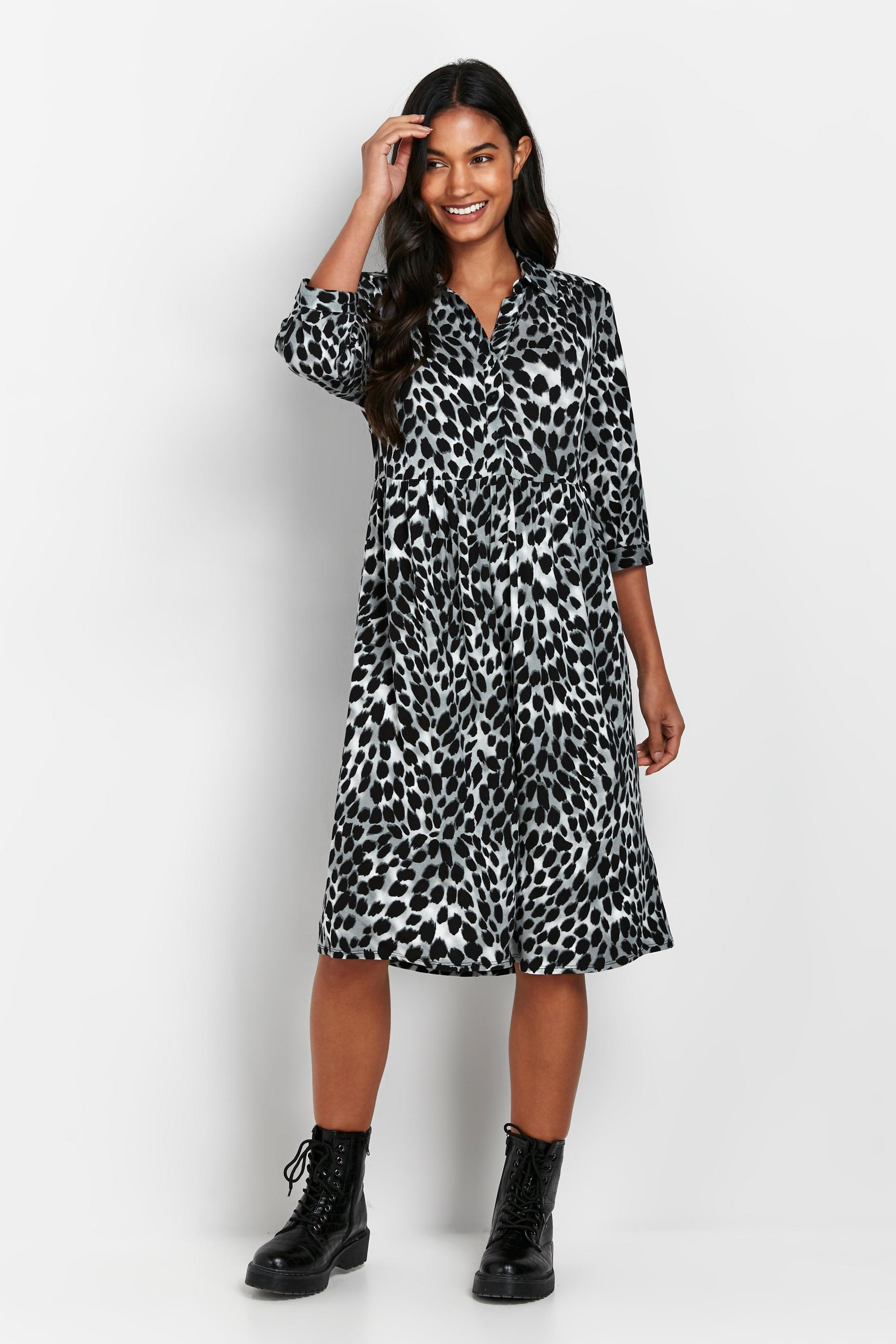 PETITE Grey Animal Print Shirt Dress