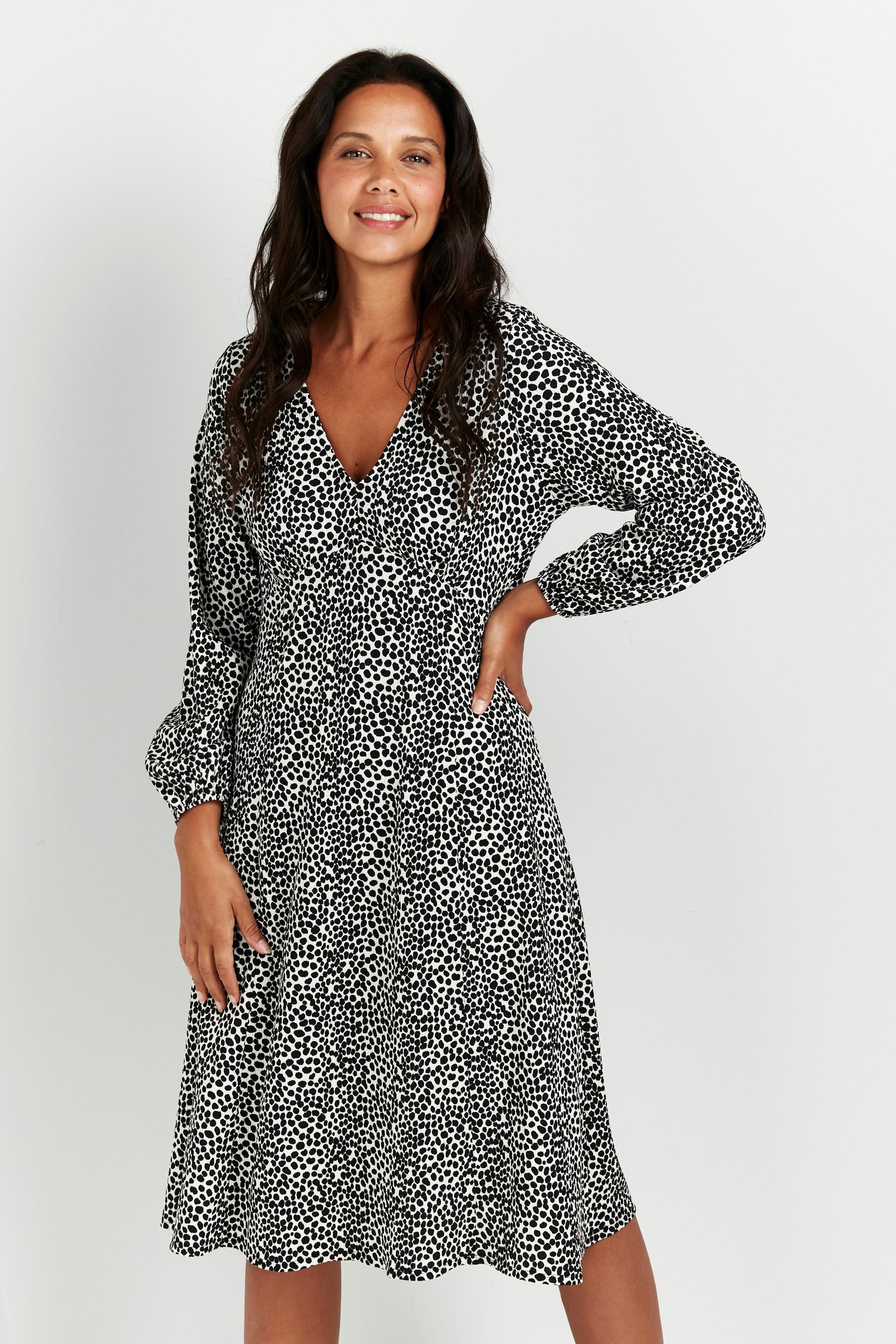 Petite Black Animal Puff Sleeve Midi Dress
