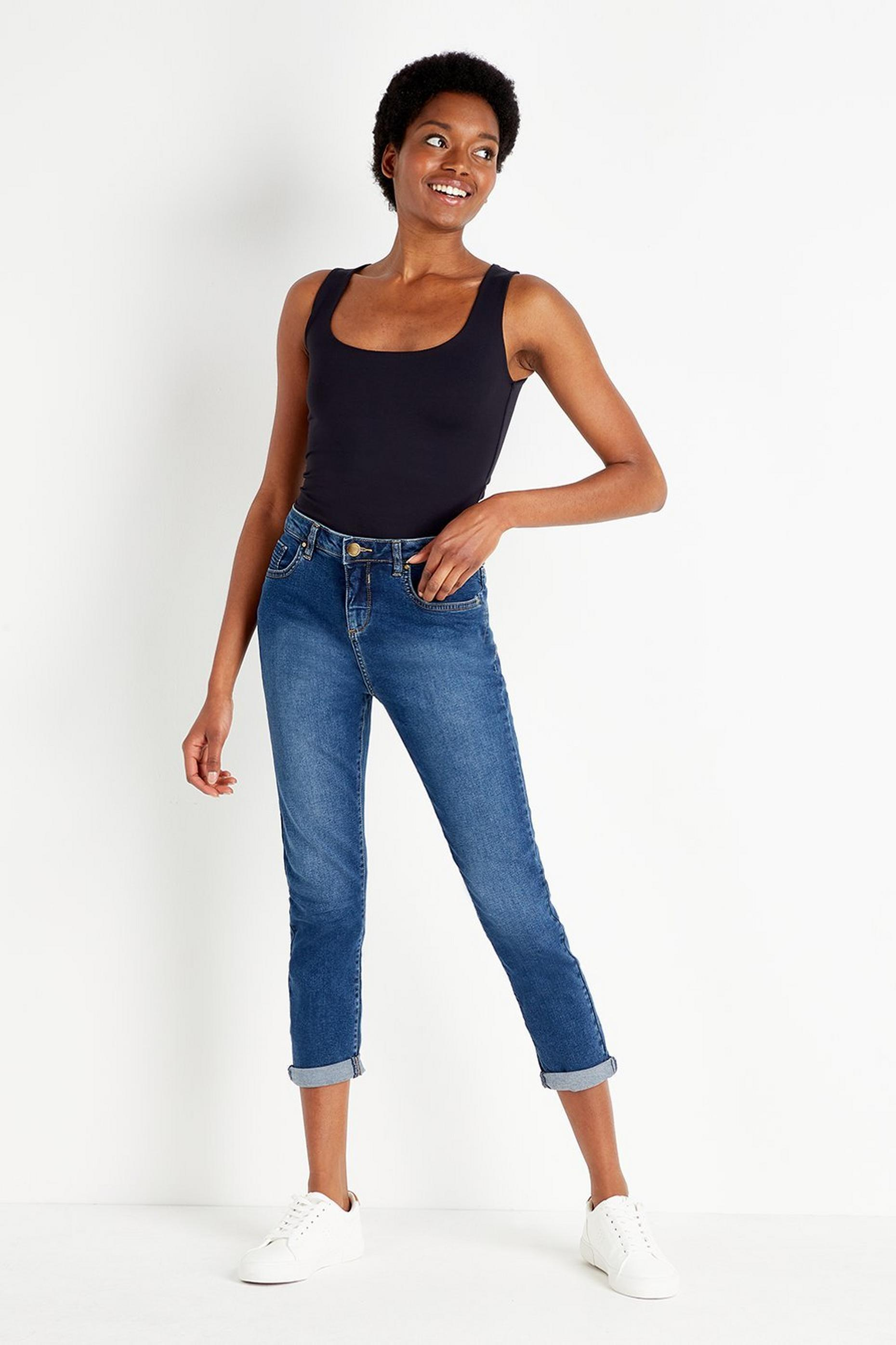 PETITE Blue Denim Roll Up Jeans