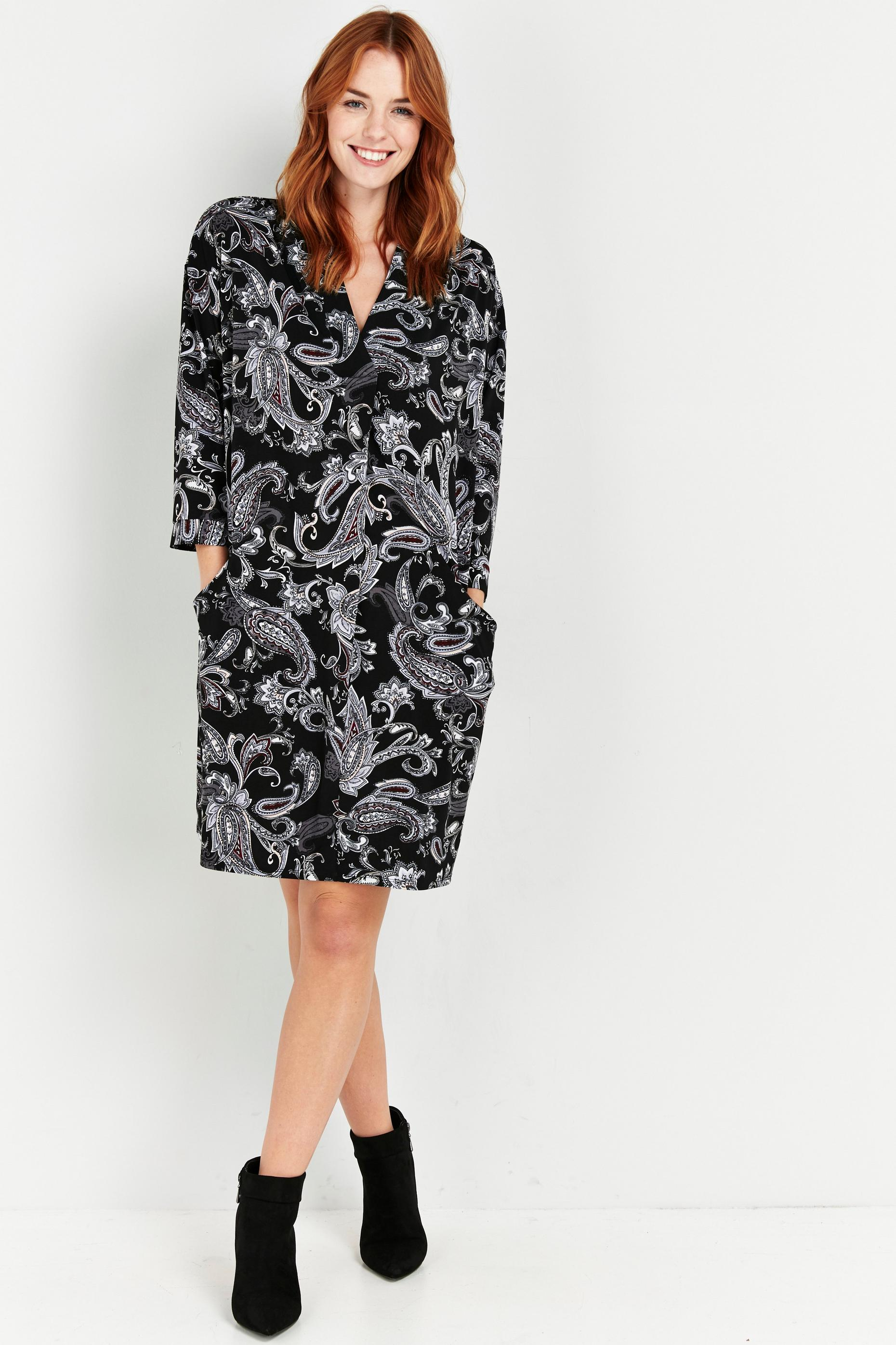 Black Paisley Relaxed Pocket Dress