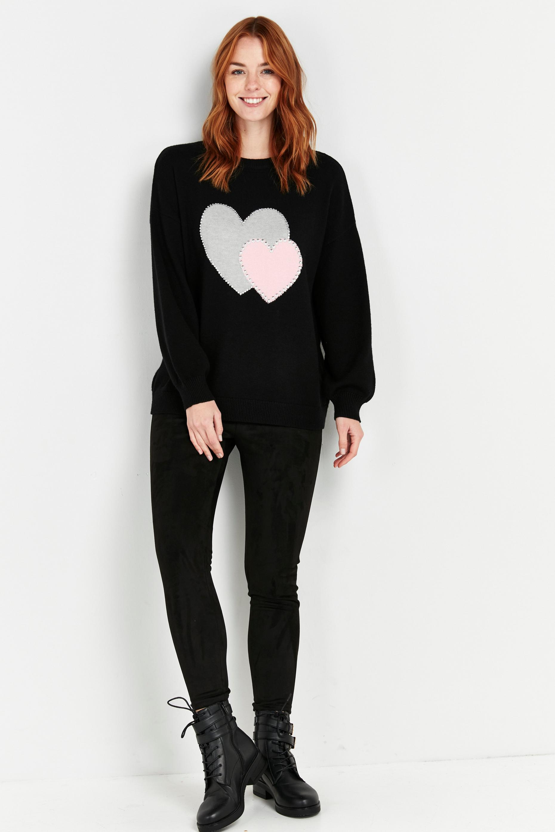 PETITE Black Double Heart Print Jumper