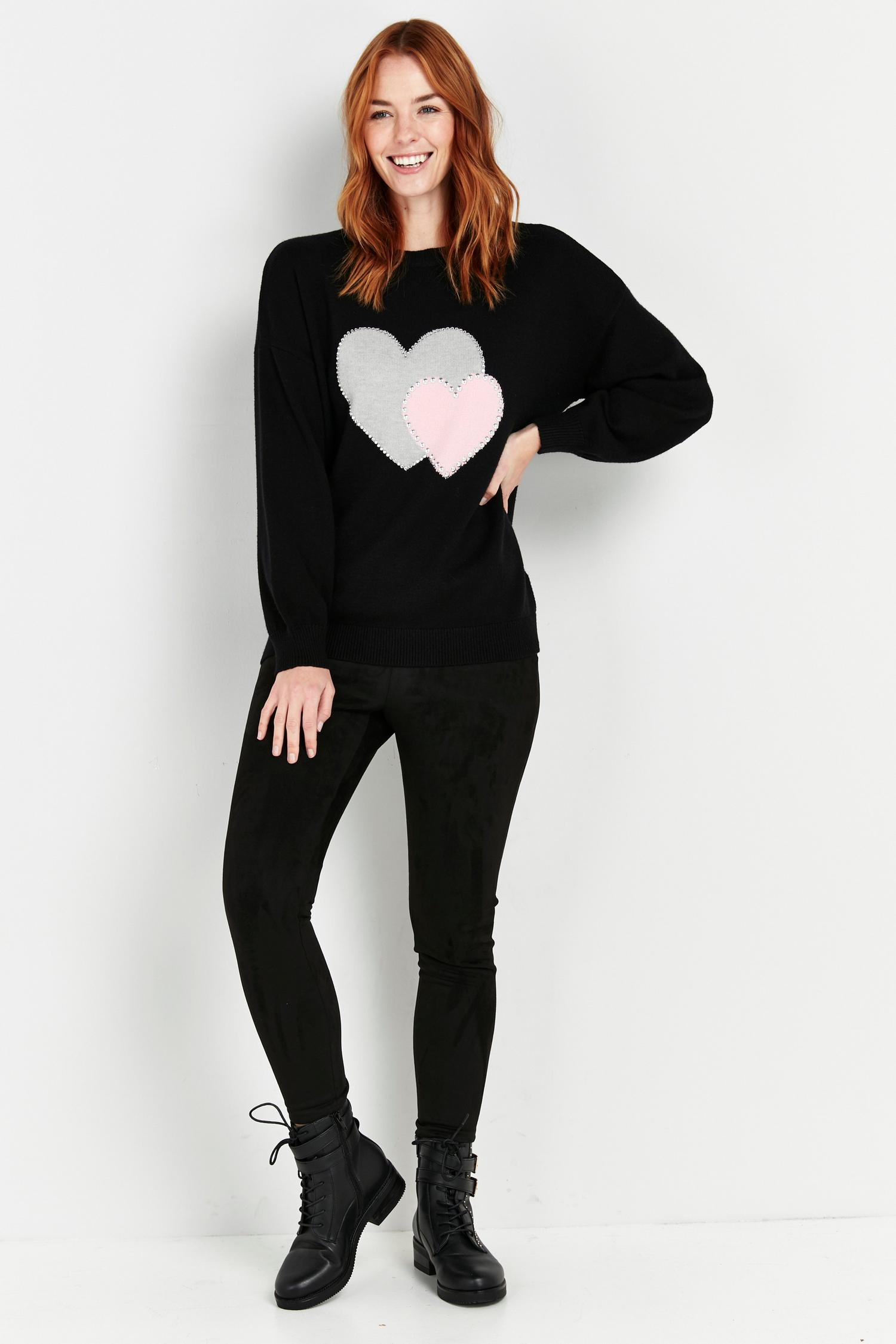 105 PETITE Black Double Heart Print Jumper image number 4
