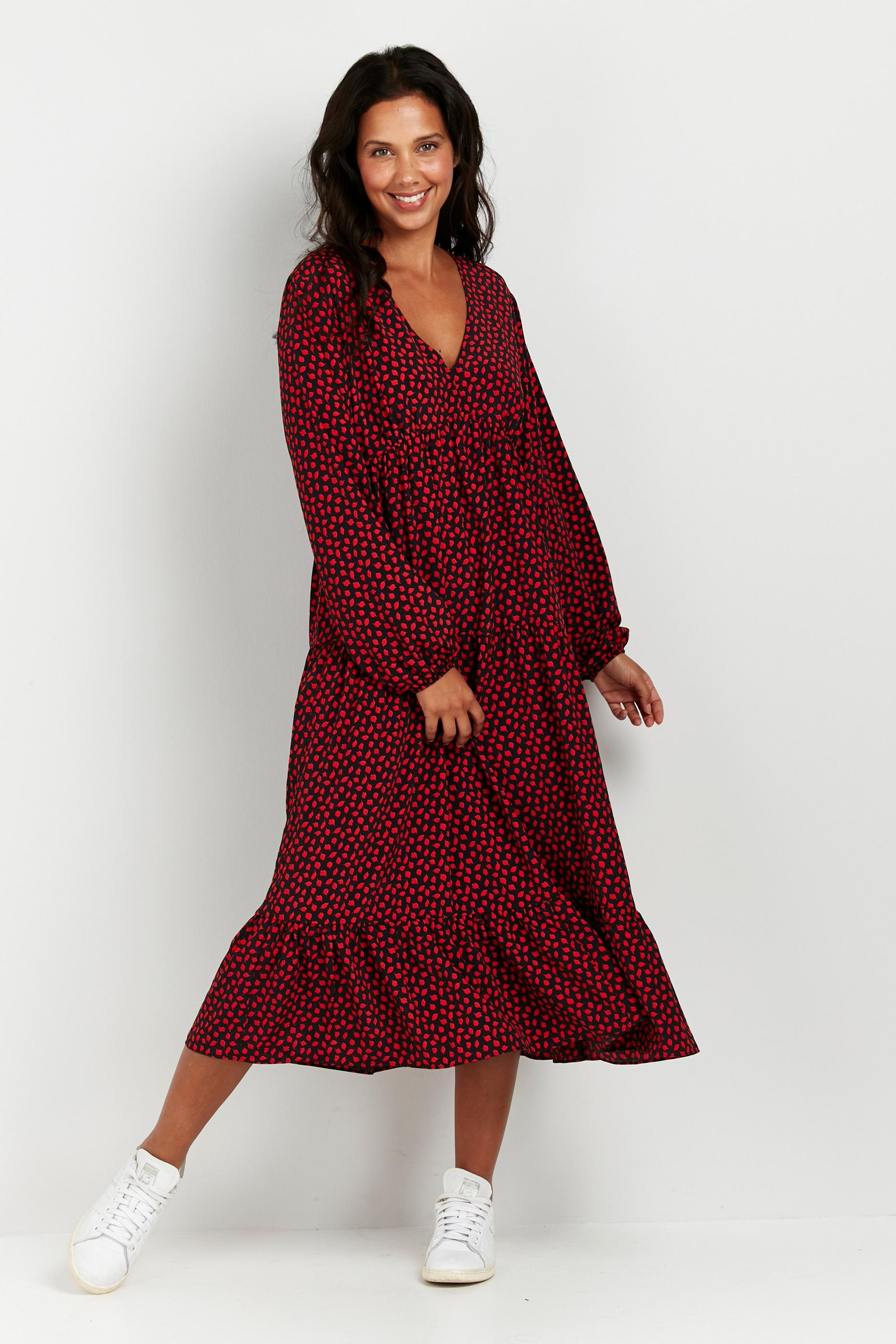 Red Leaf Print Puff Sleeve Midi Dress