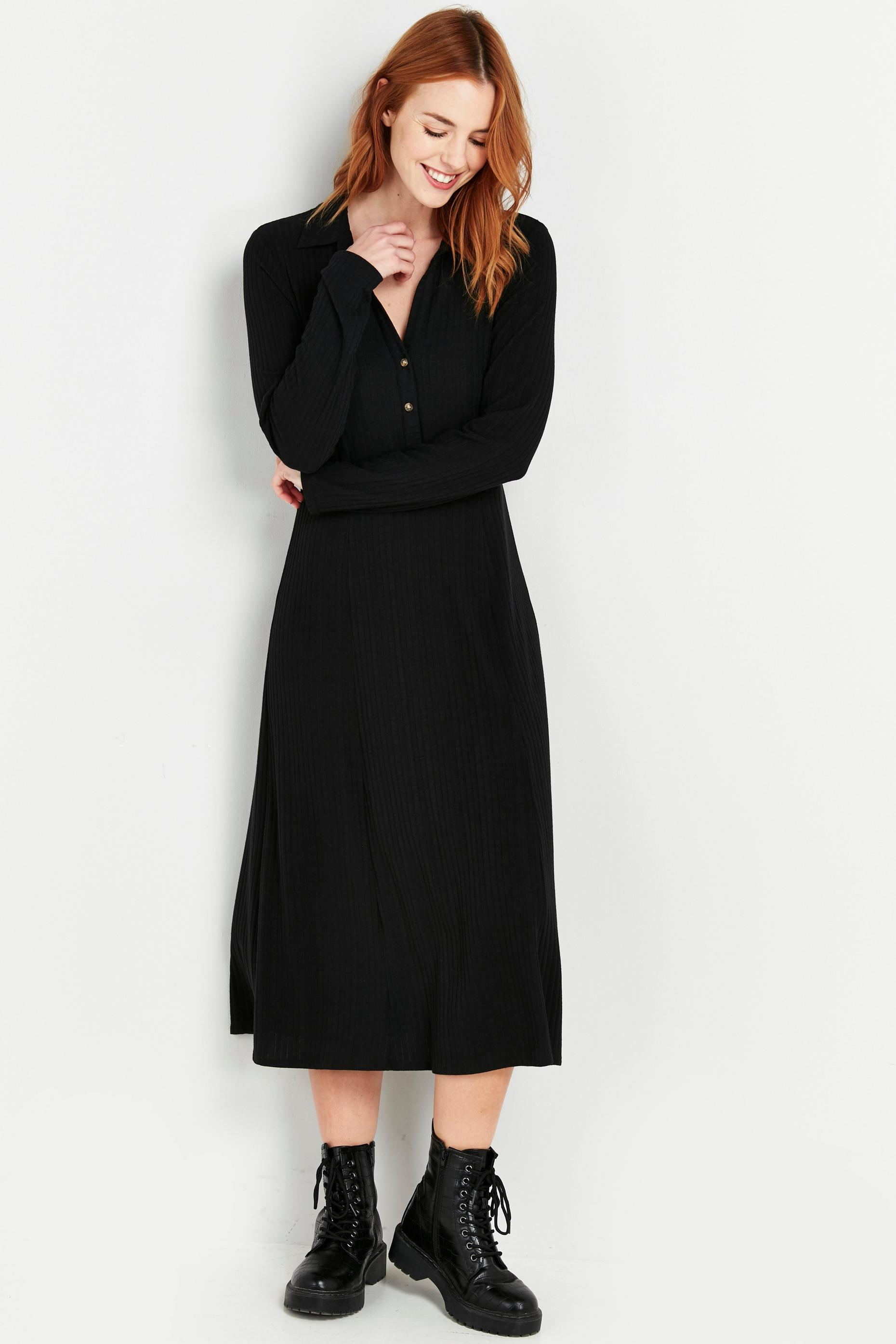 Black Ribbed Jersey Shirt Dress