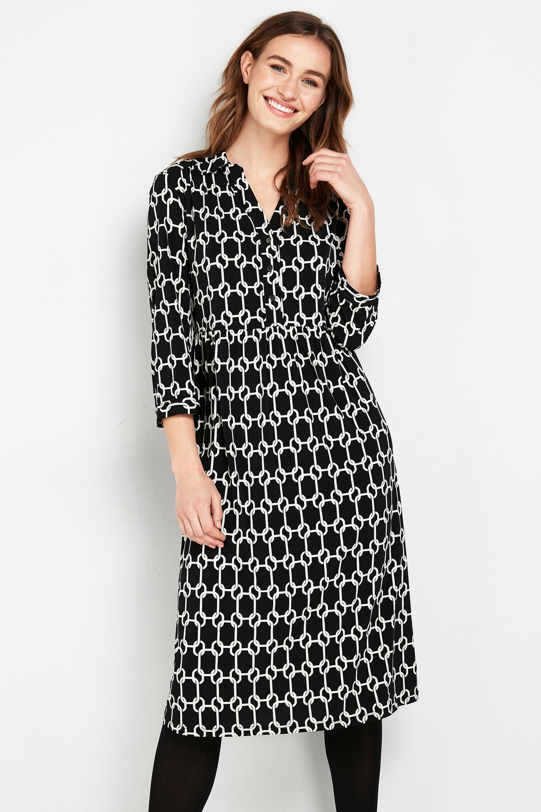 Monochrome Chain Print Shirt Dress