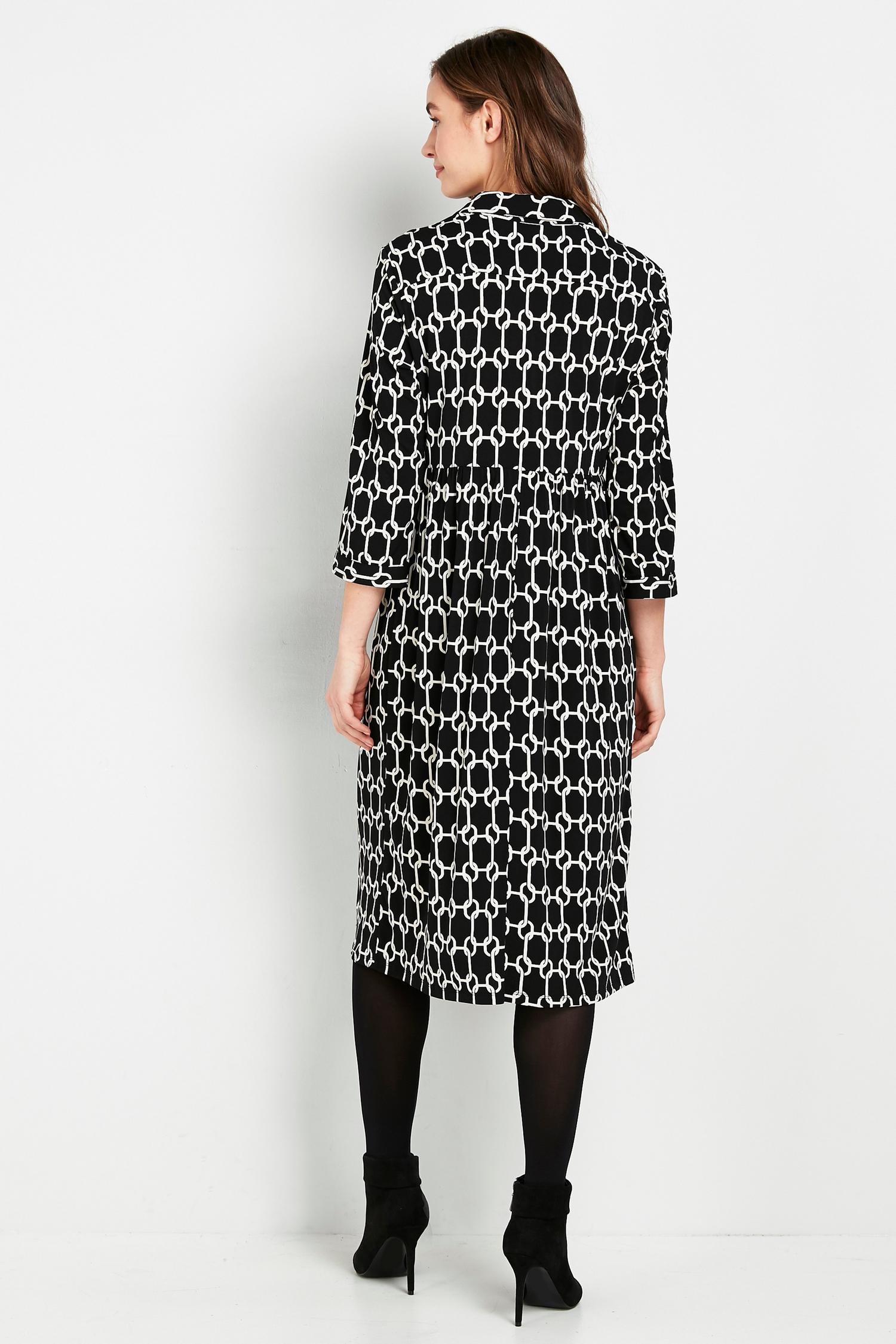 585 Monochrome Chain Print Shirt Dress image number 2
